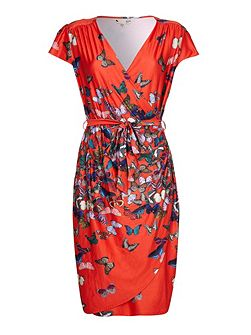 Butterfly Print Tie Belt Dress