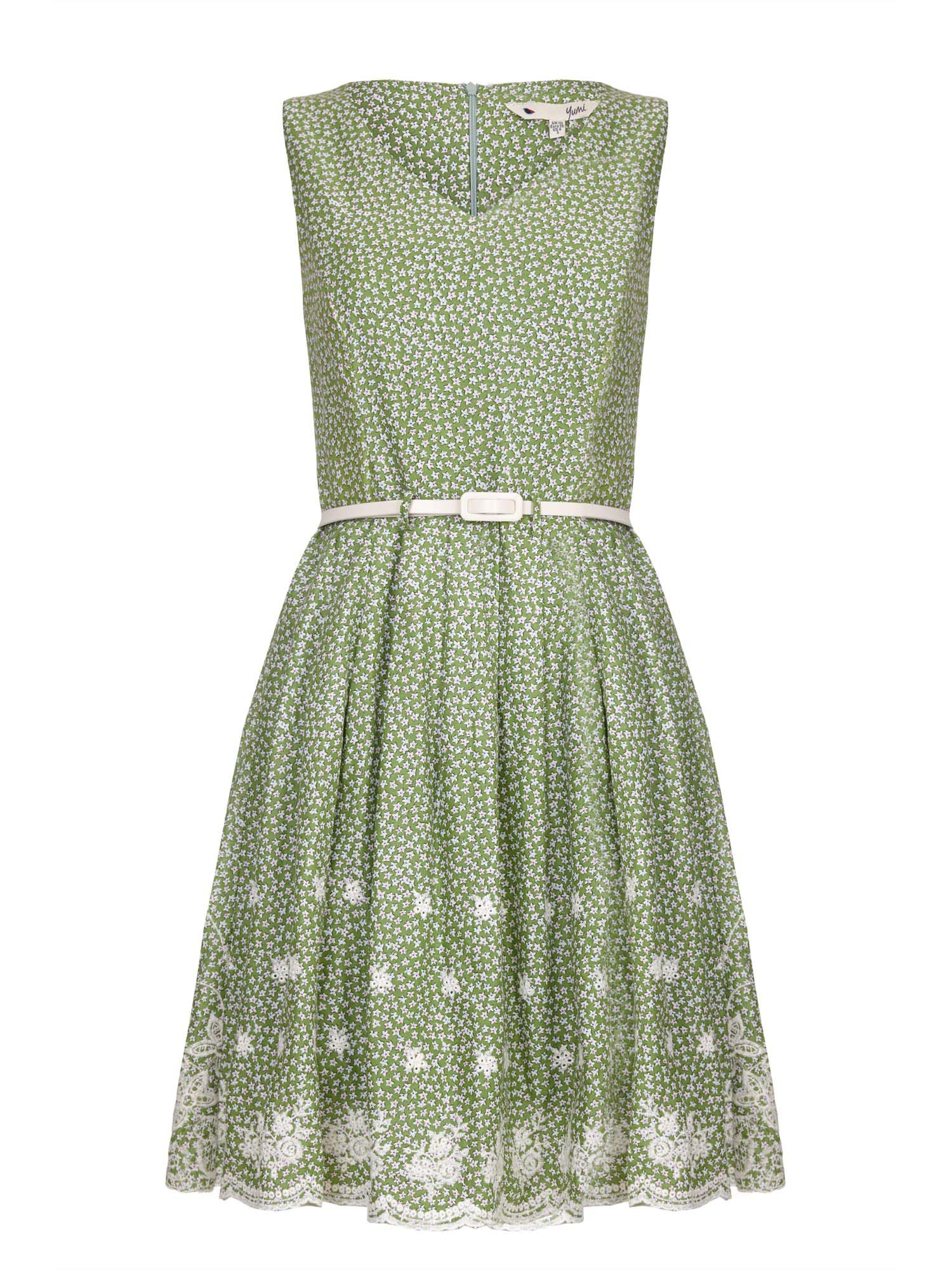 Yumi Embroidered Hem Belted Dress, Green