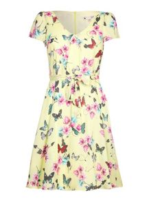 Yumi Butterfly Print Tea Dress