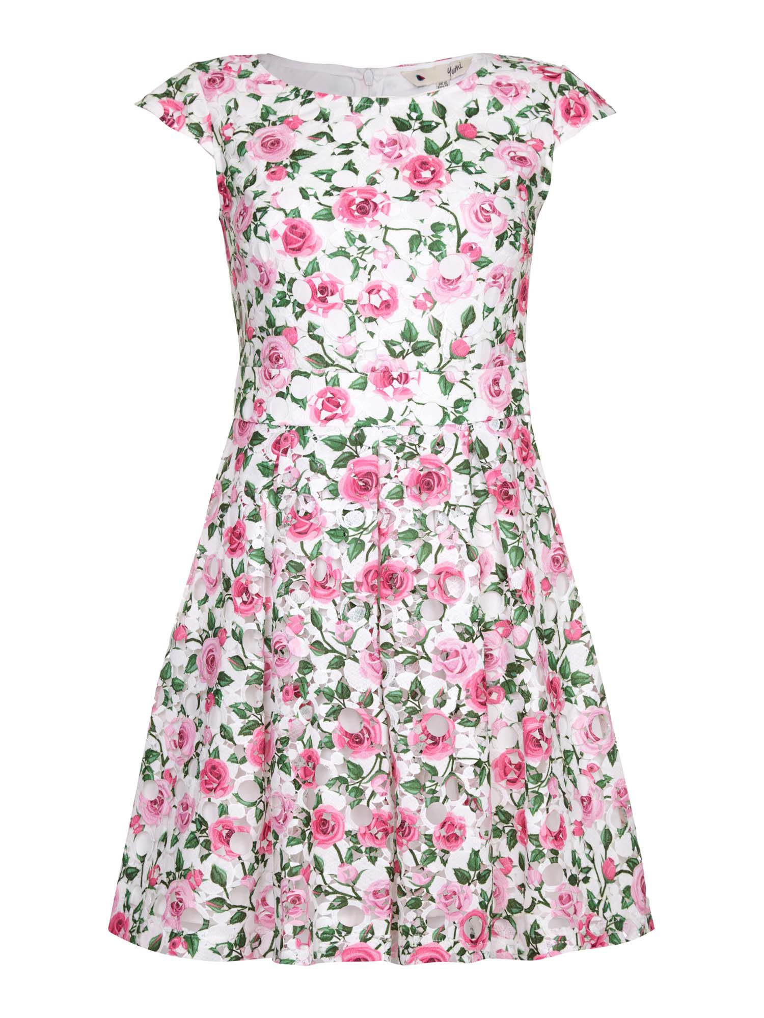 Yumi Rose Print Cap Sleeve Dress, Multi-Coloured