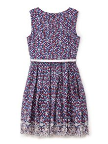 Yumi Girls Ditsy Floral Print Embroidered Hem Dress