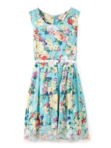 Yumi Girls Floral Print Embroidery Hem Dress