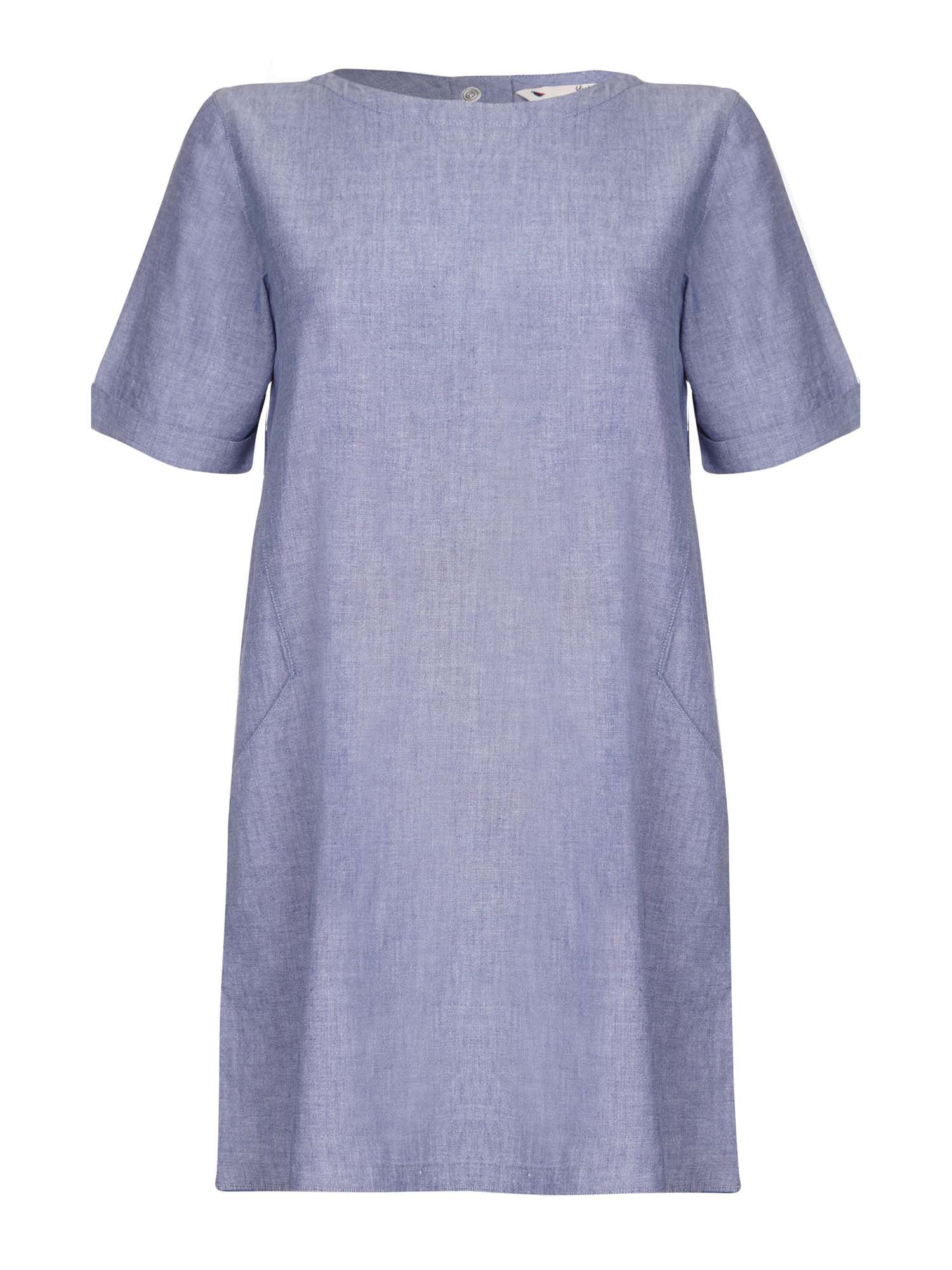 Yumi Chambray Short Sleeve Tunic Dress Blue