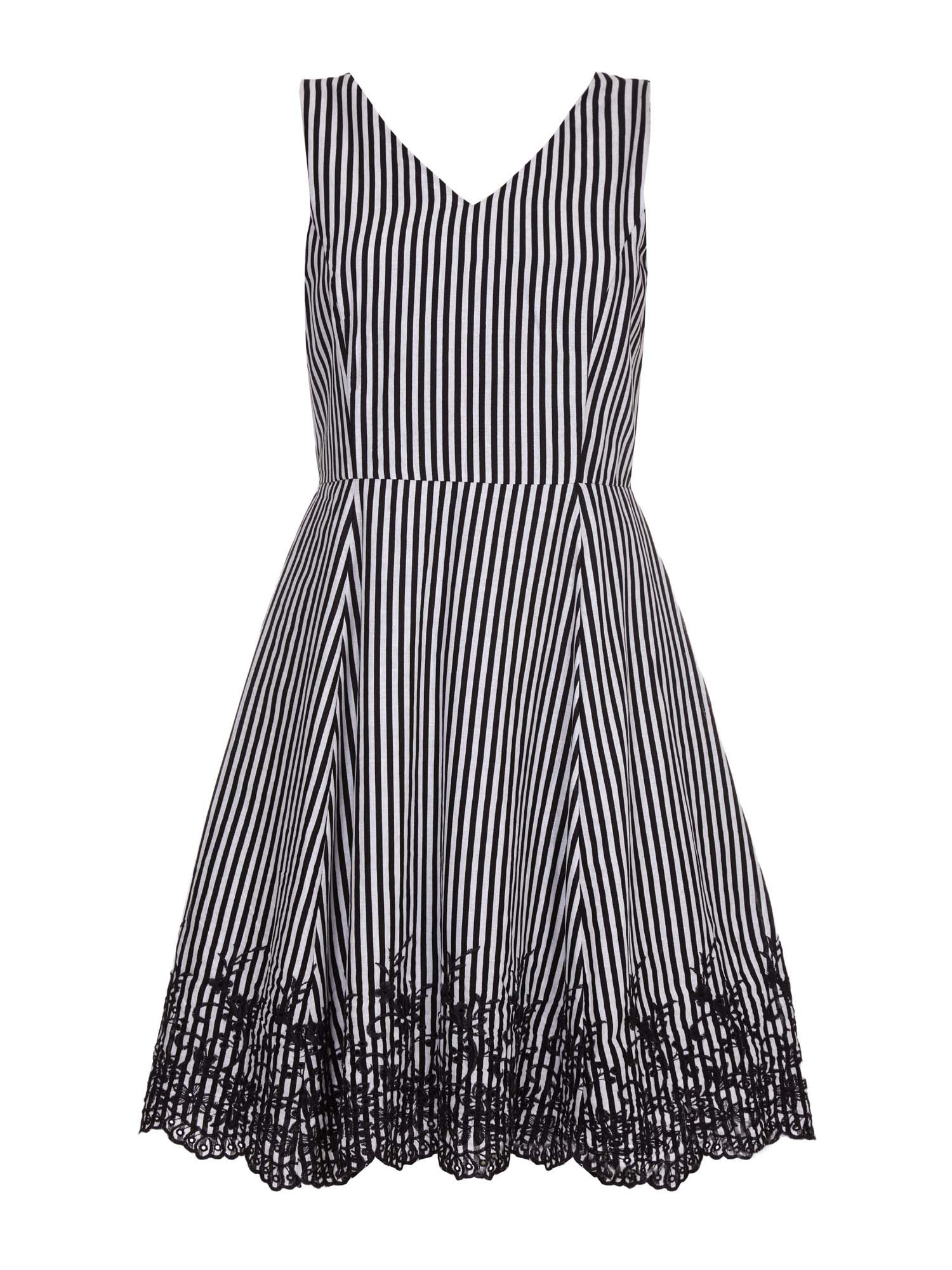Yumi Yumi Stripe Embroidered Hemline Dress, Black