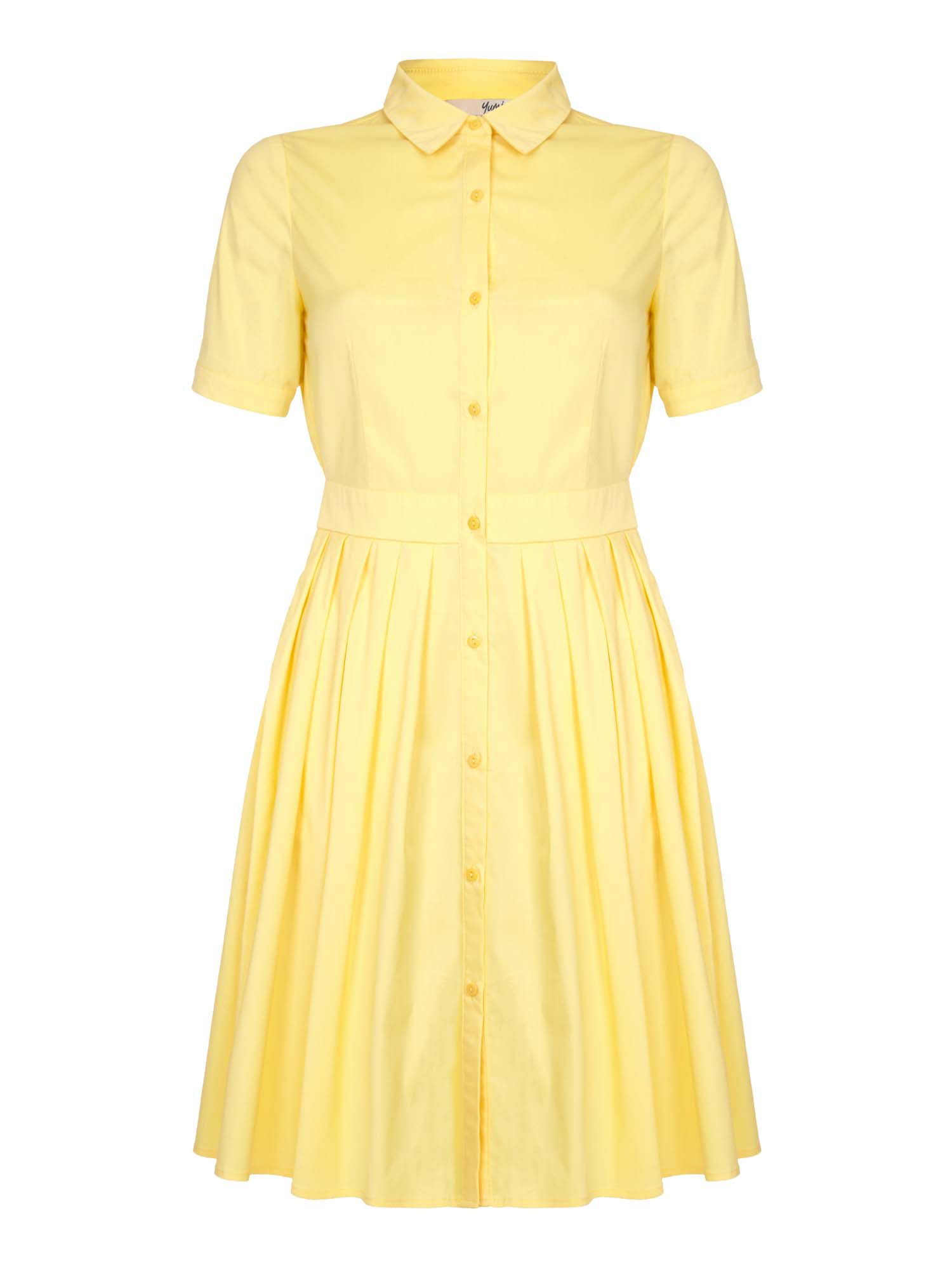 Yumi Yumi Pleat Short Sleeve Shirt Dress, Yellow