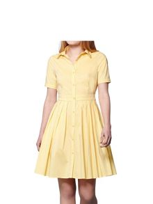 Yumi Yumi Pleat Short Sleeve Shirt Dress