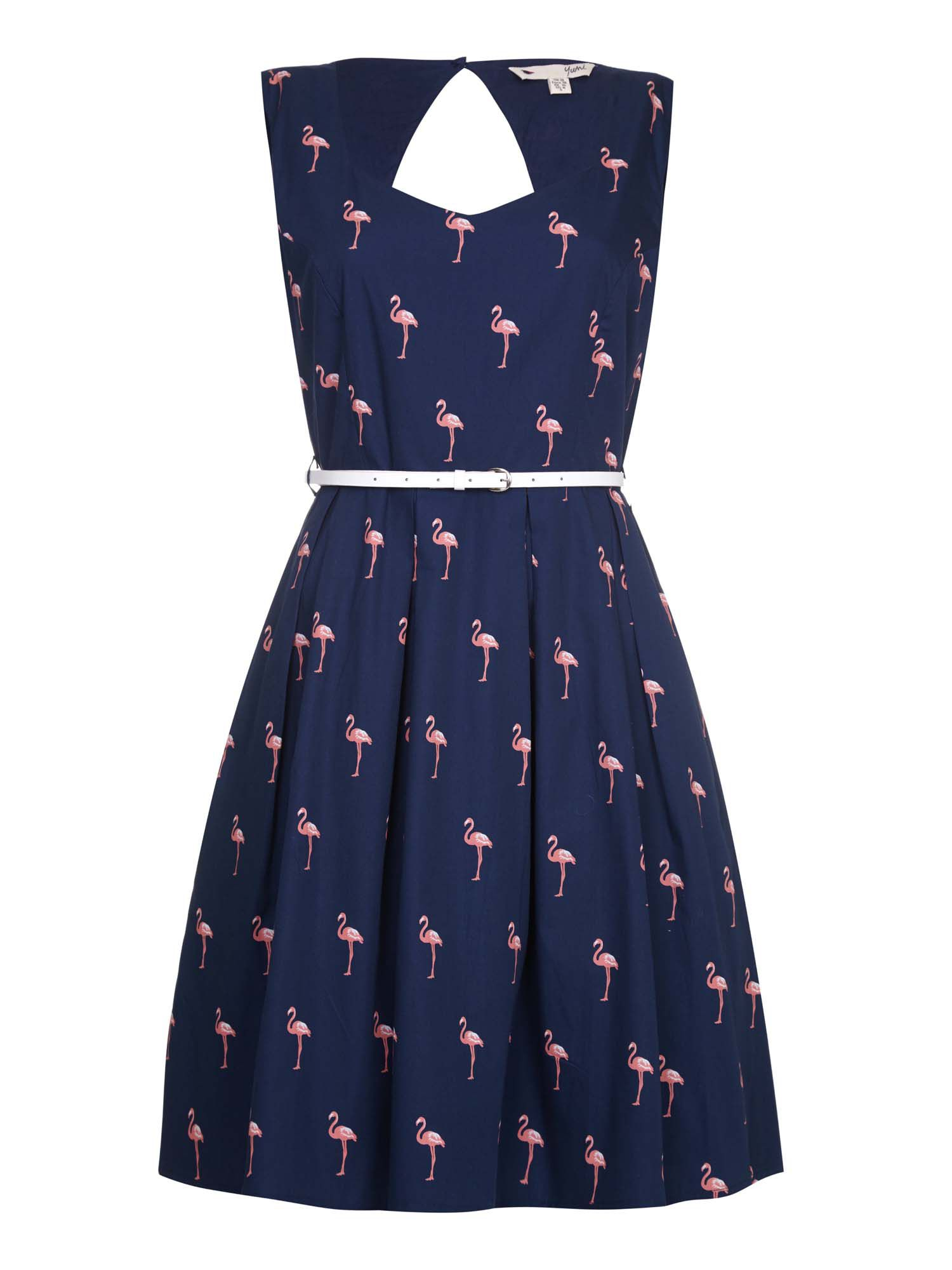 Yumi Flamingo Print Sweetheart Skater Dress Navy