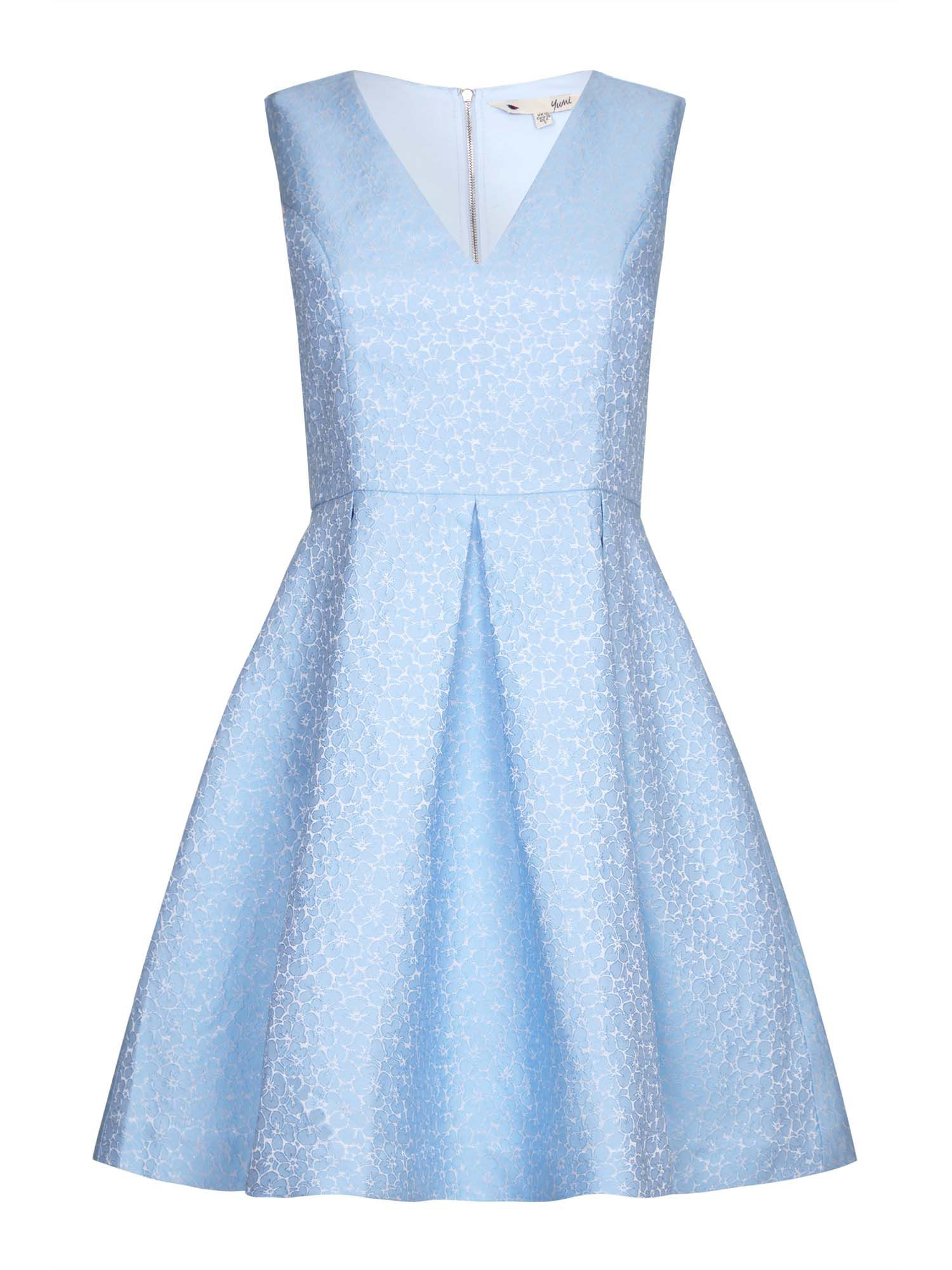 Yumi Yumi Jacquard Sleeveless Dress, Blue