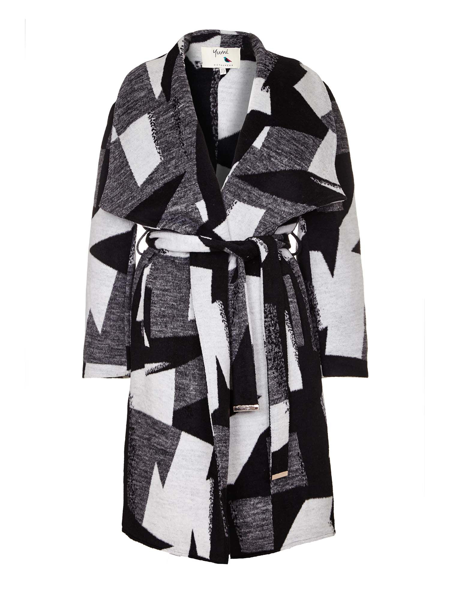 Yumi Monochrome Waterfall Coat, Black