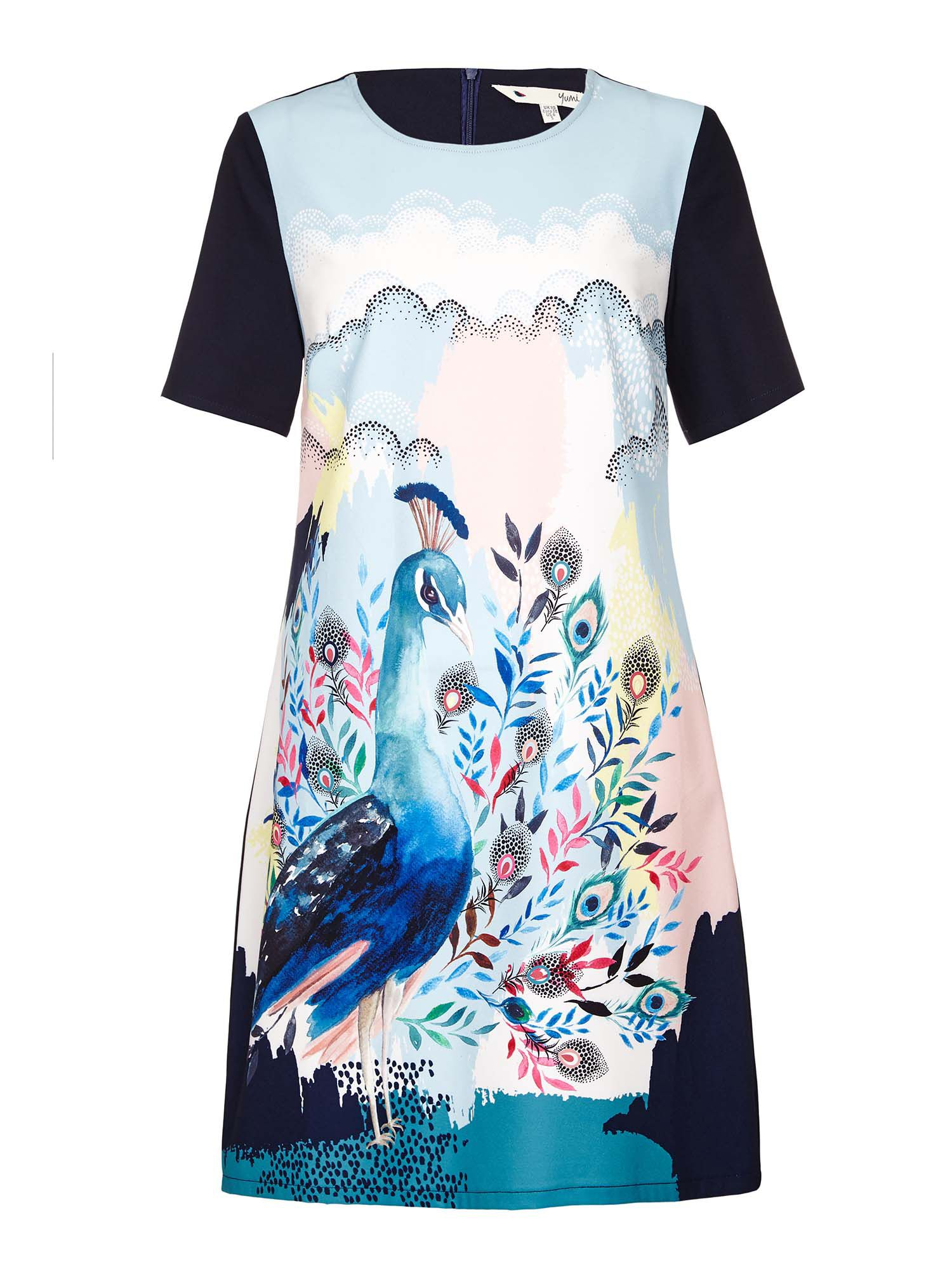 Yumi Abstract Peacock Tunic Dress, Multi-Coloured