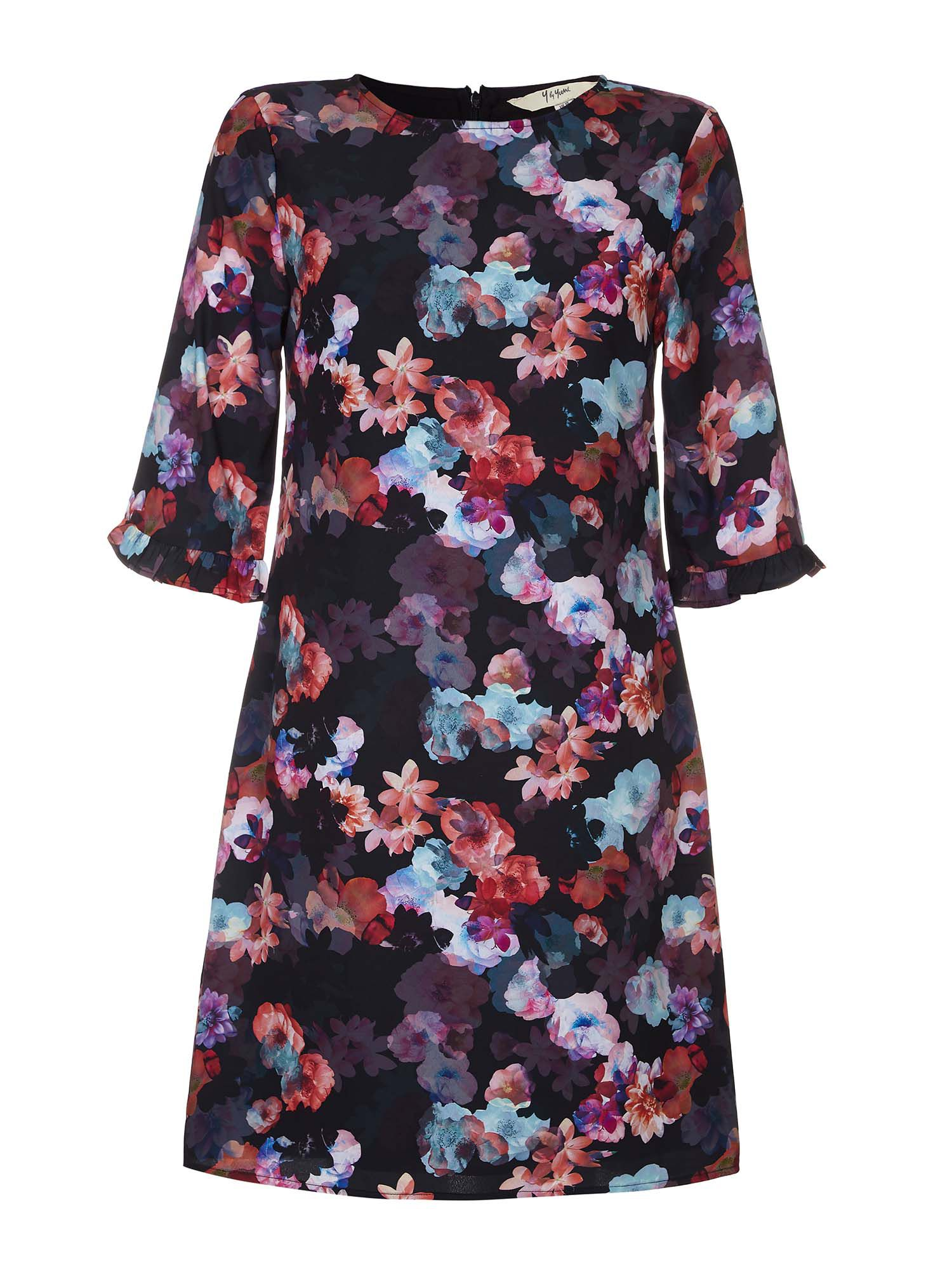 Yumi Floral Tunic Dress with Ruffle Trim, Black
