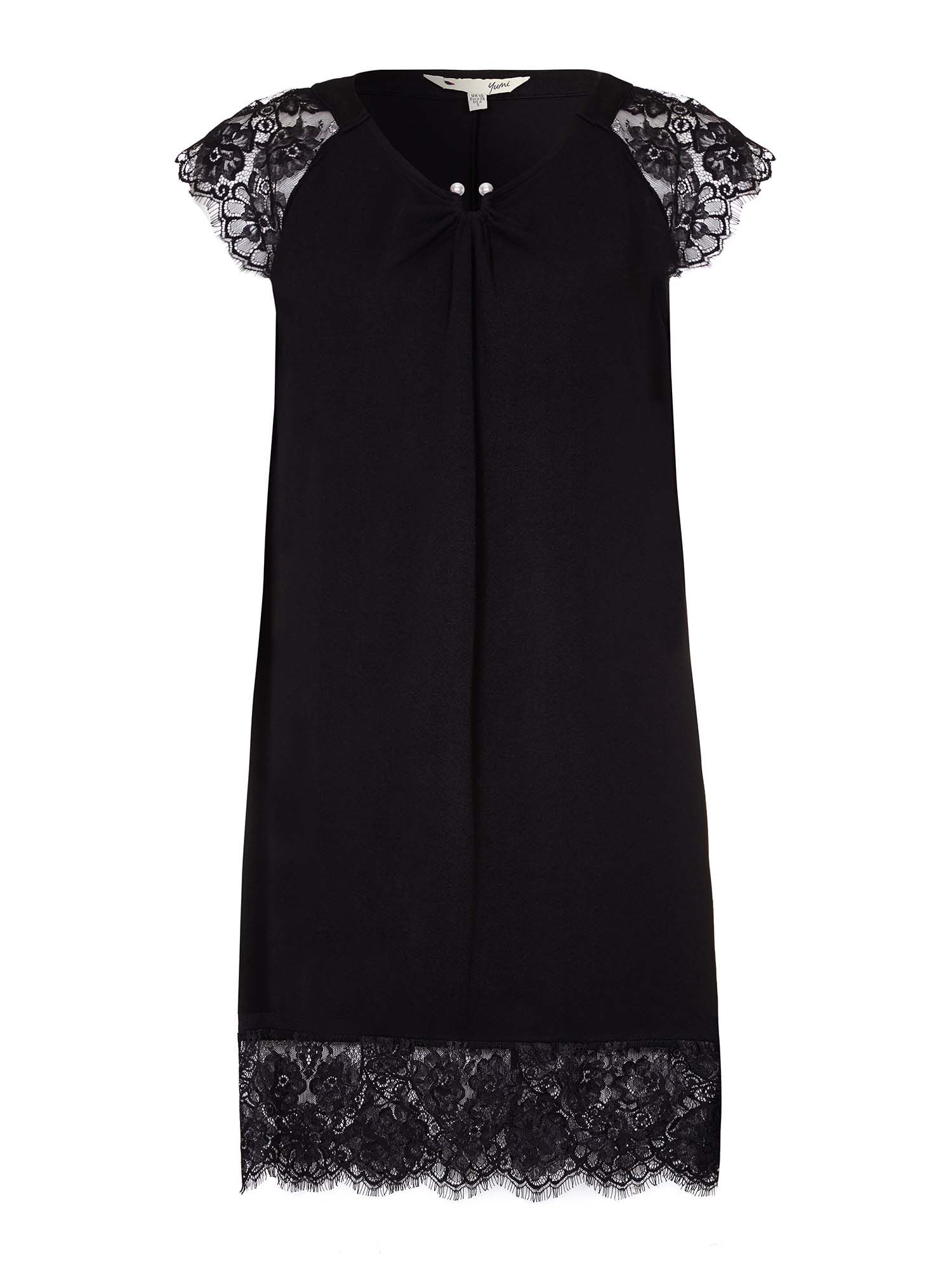 Yumi Lace Tunic Dress, Black