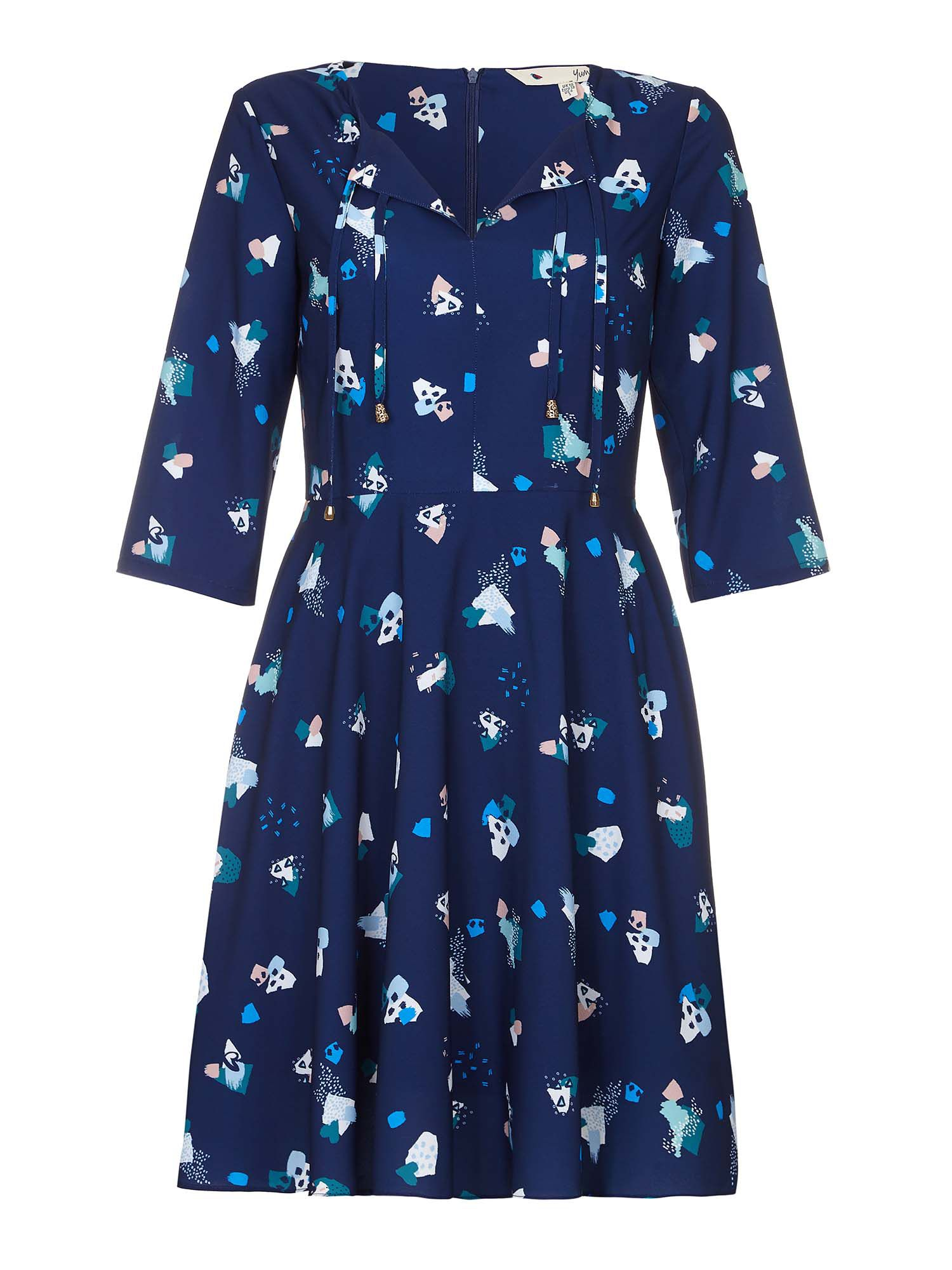 Yumi Abstract Print Dress, Blue