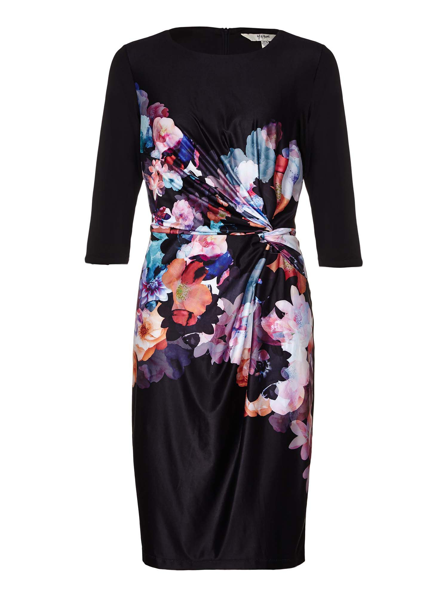 Yumi Side Ruched Floral Dress, Black