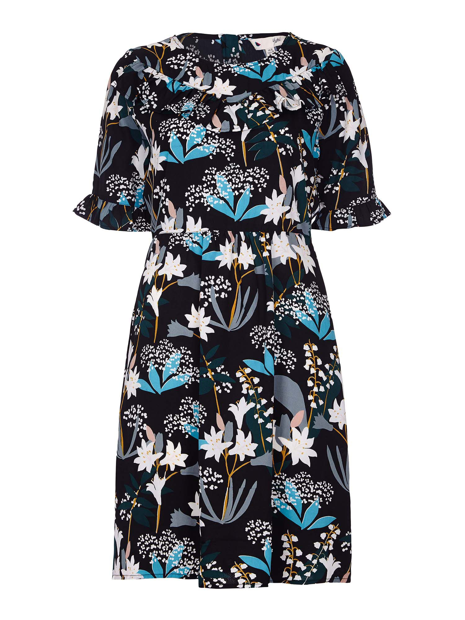Yumi Snowdrop Print Frill Dress, Black