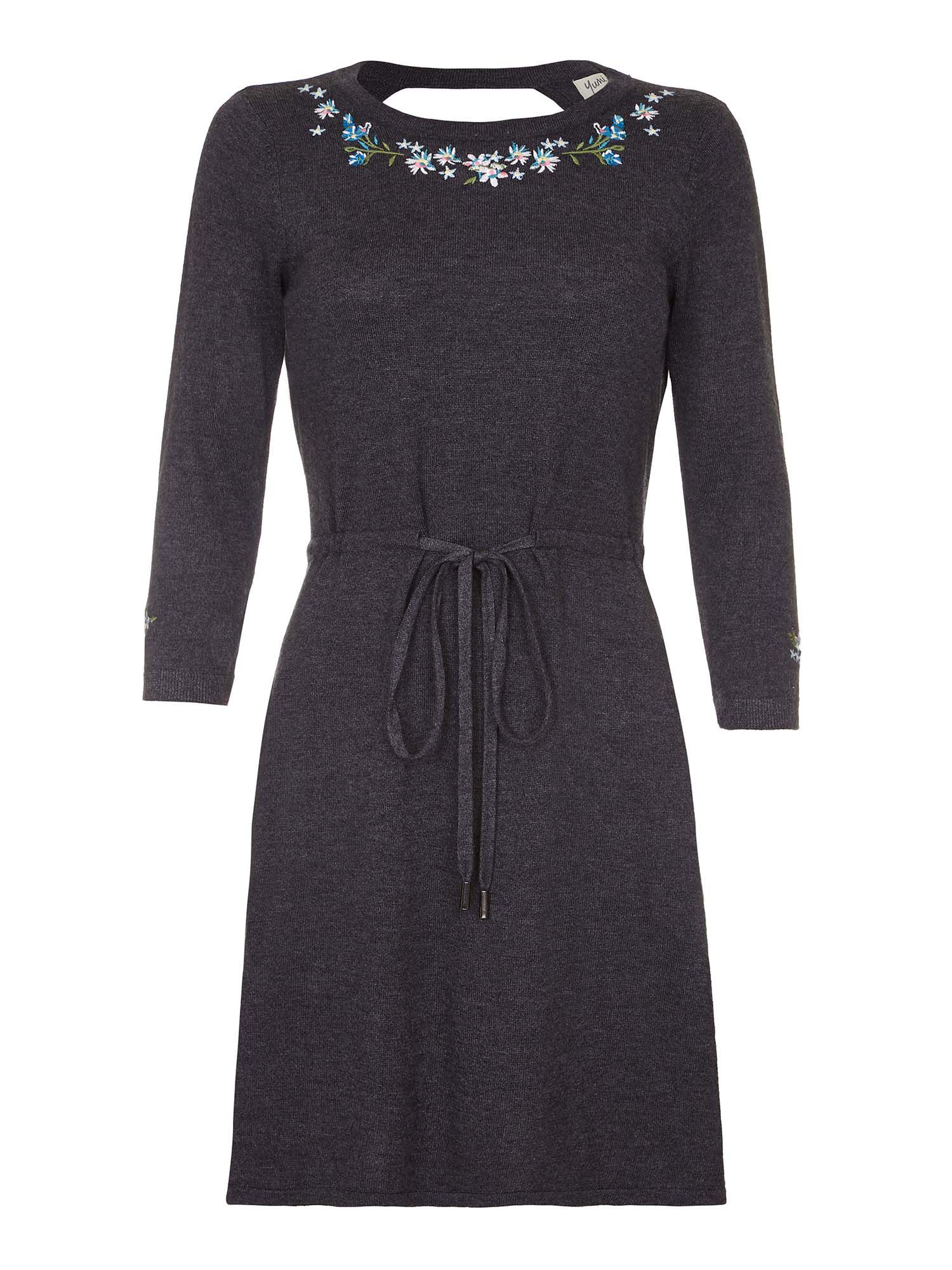 Yumi Knitted Dress with Floral Embroidery, Grey