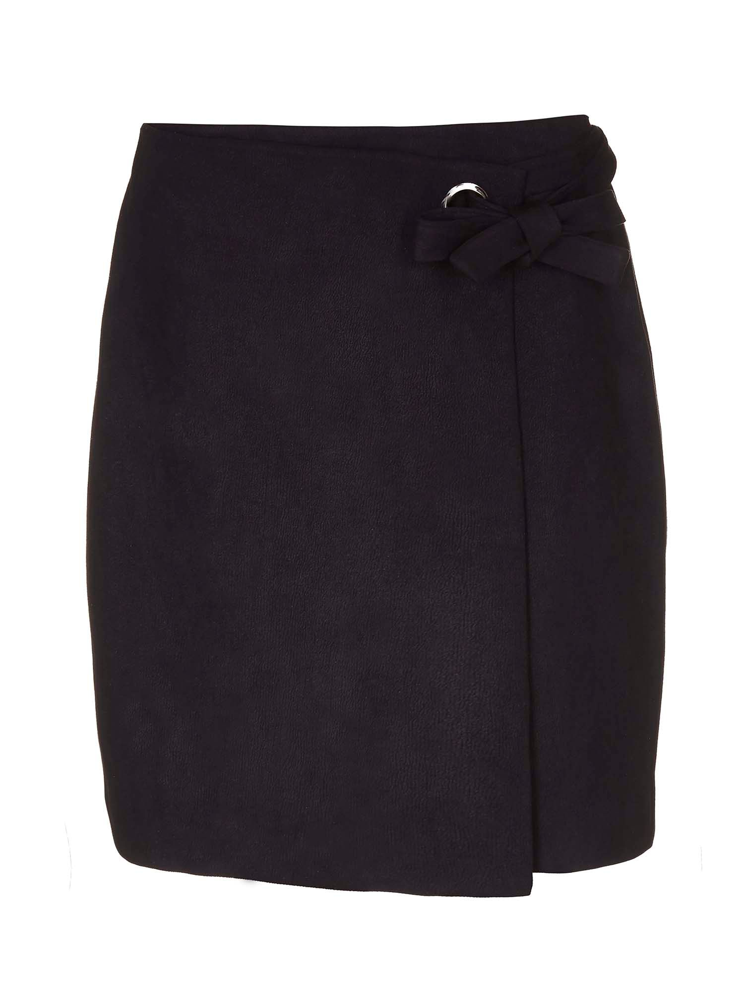 Yumi Wrap Skirt with Bow, Black