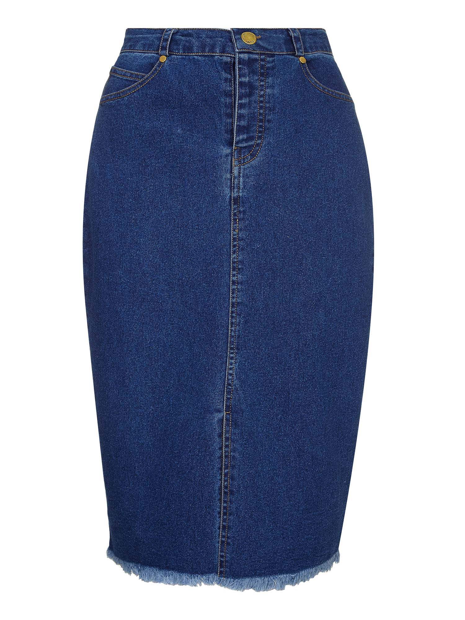 Yumi Midi Denim Pencil Skirt, Petrol