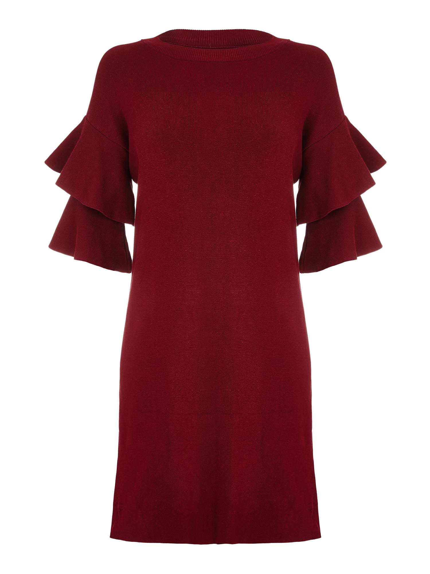 Yumi Flute Sleeve Knit Dress, Red
