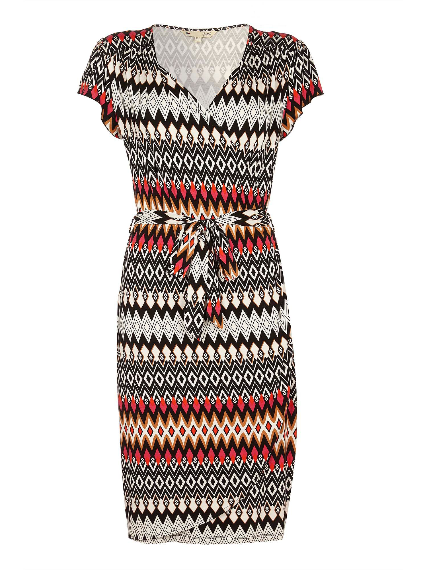 Yumi Aztec Wrap Dress, Multi-Coloured