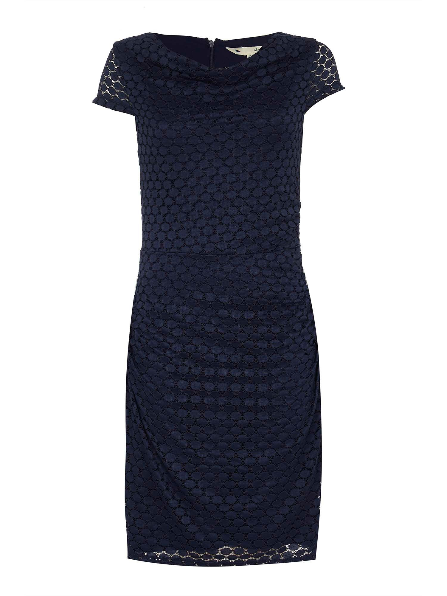 Yumi Lace Cowl Neck Bodycon Dress, Blue