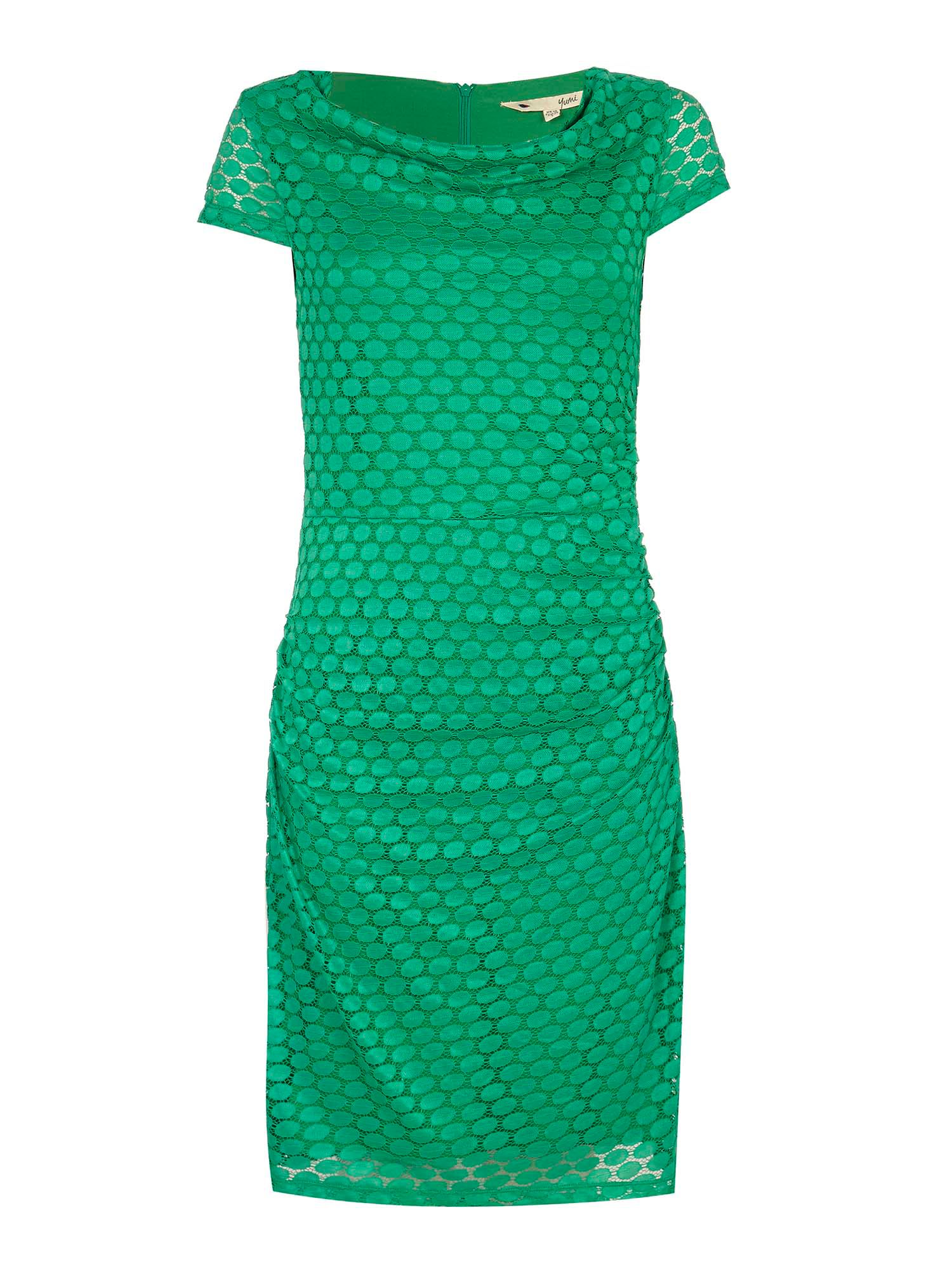 Yumi Lace Cowl Neck Bodycon Dress, Green