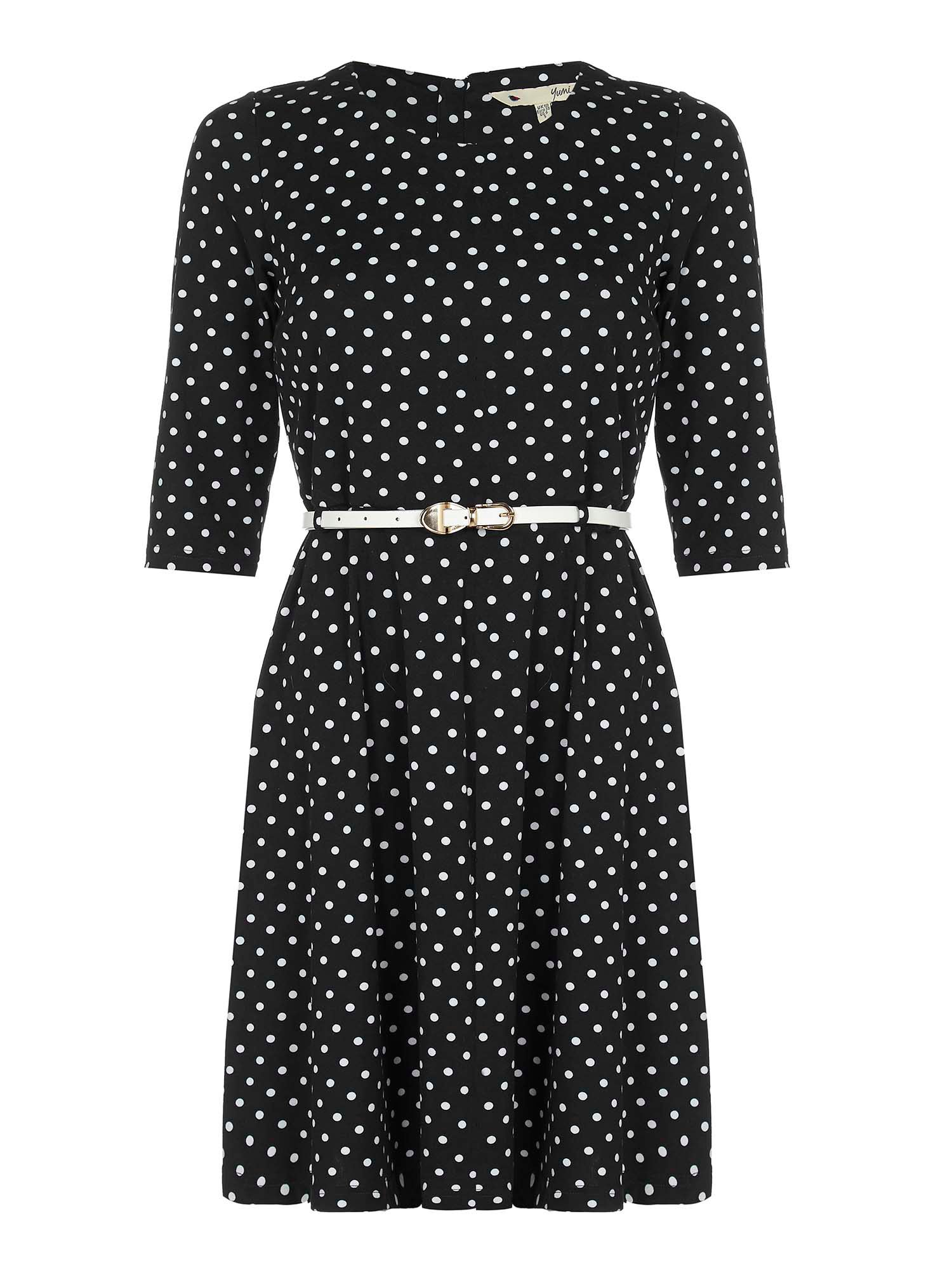 Yumi Spot Print Dress, Black