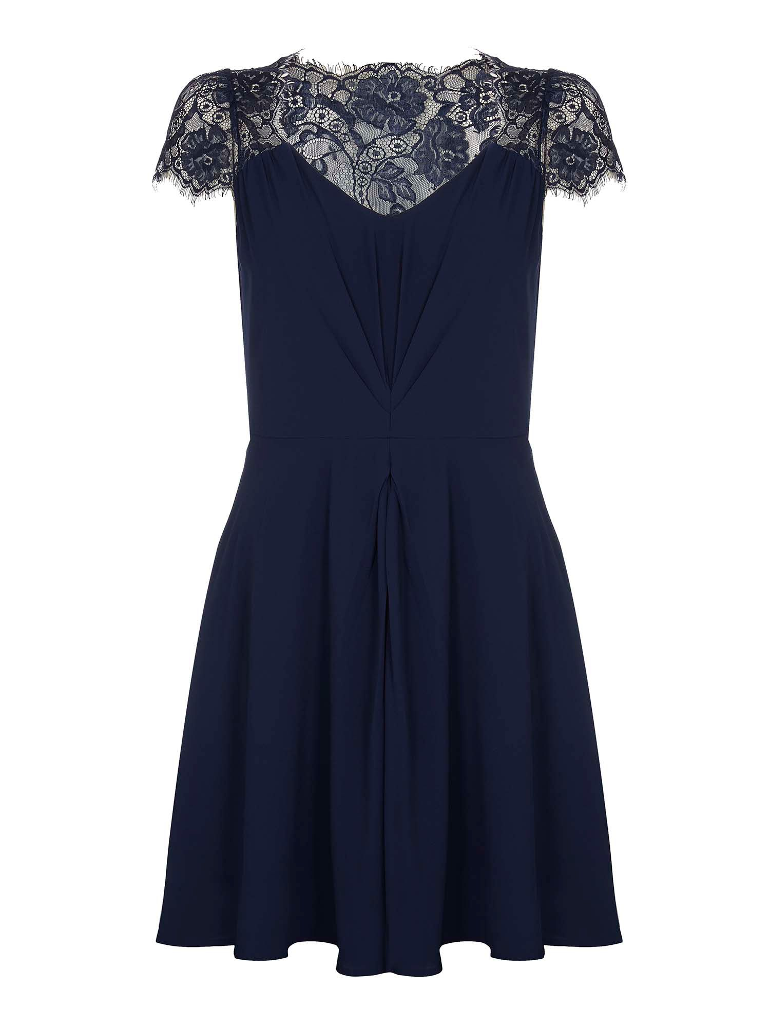 Yumi Lace Sleeve Party Dress, Dark Blue