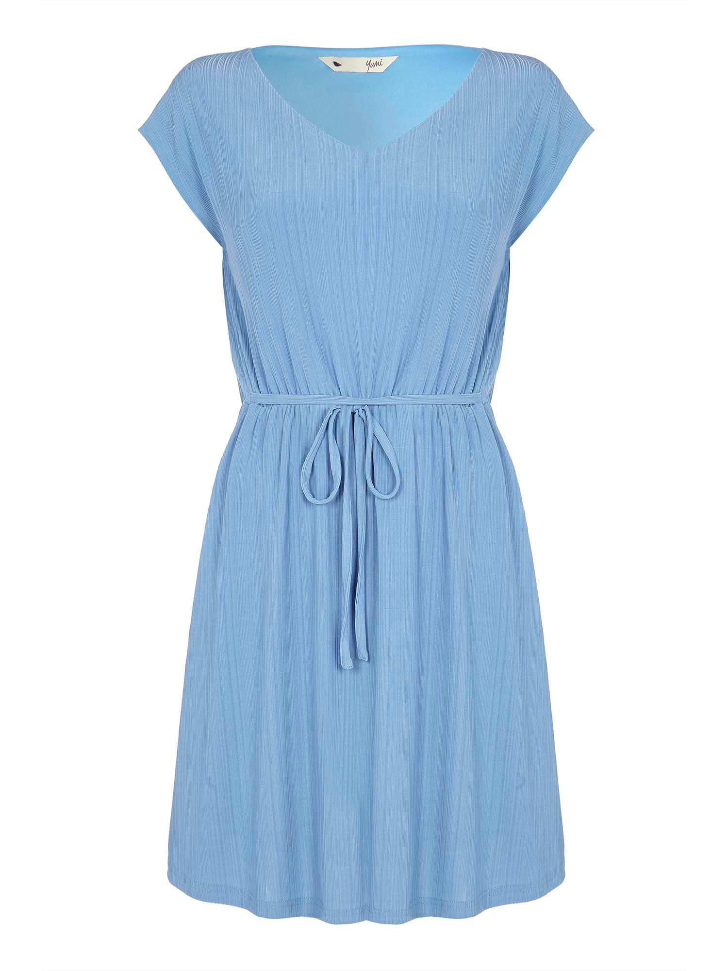 Yumi Striped Dress with Tie Waist, Blue