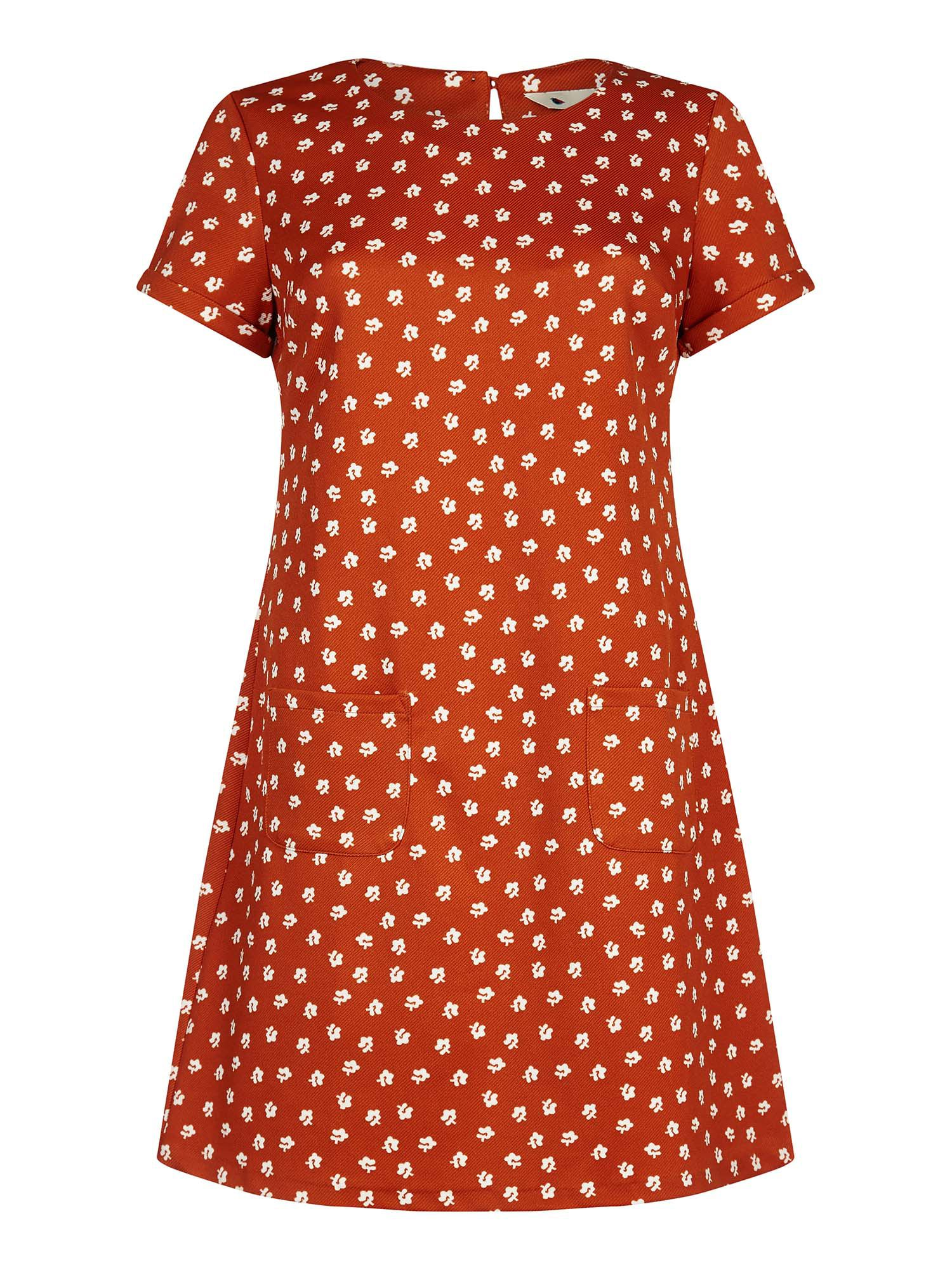 Yumi Daisy Print Tunic Dress, Orange
