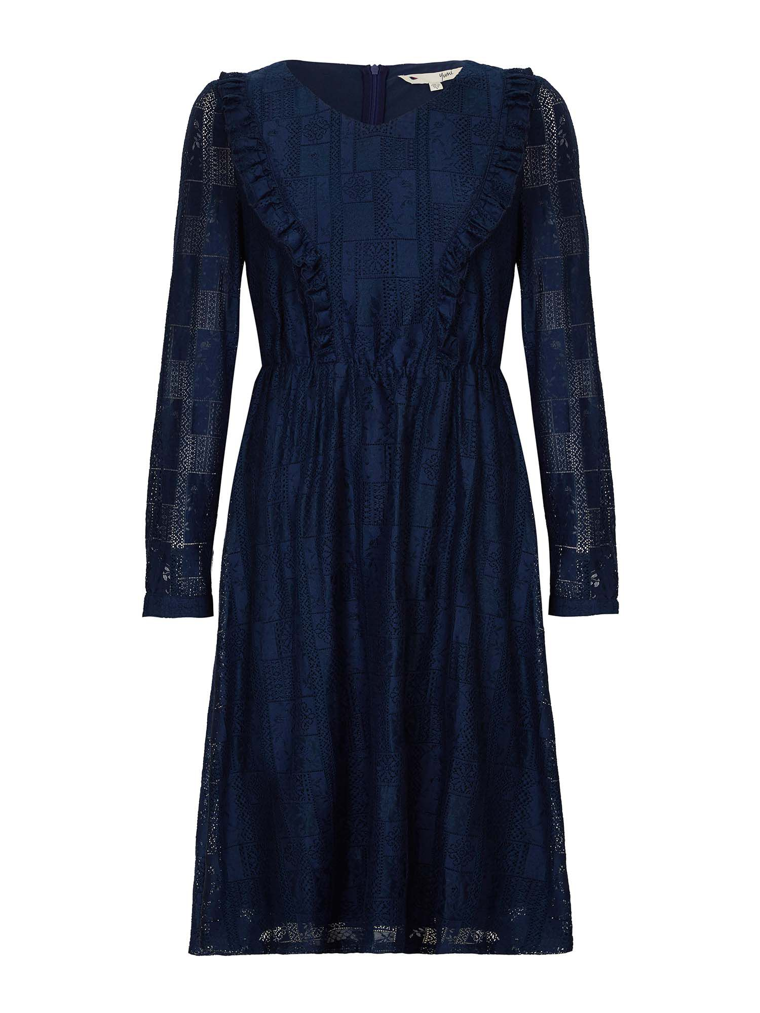 Yumi Lace Frill Dress, Blue