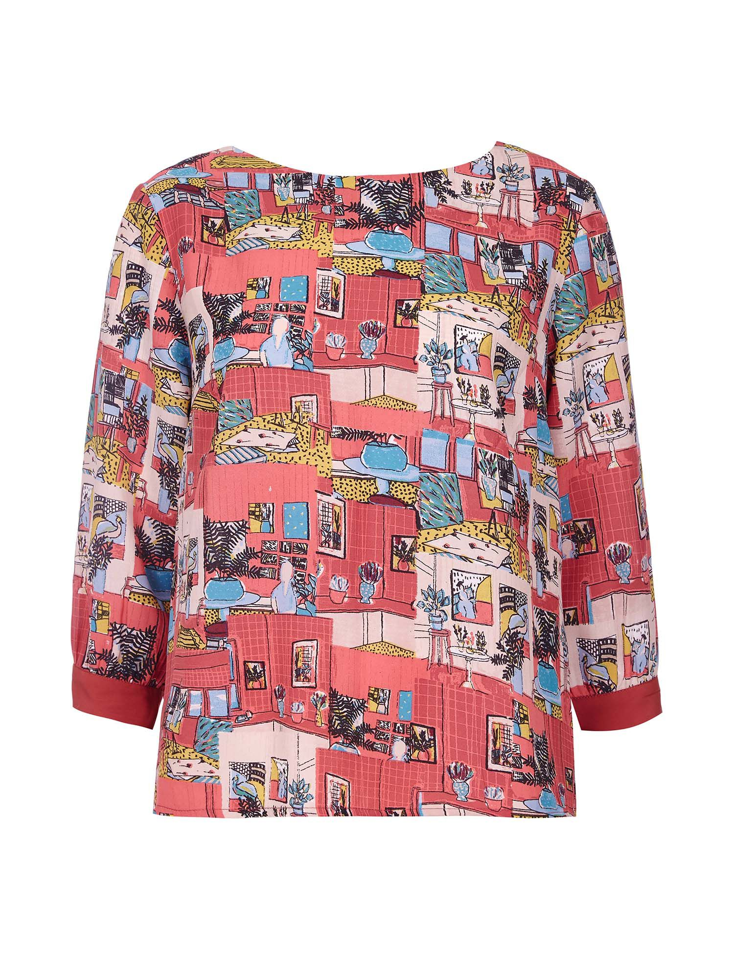 Yumi Printed Collage Blouse, Multi-Coloured