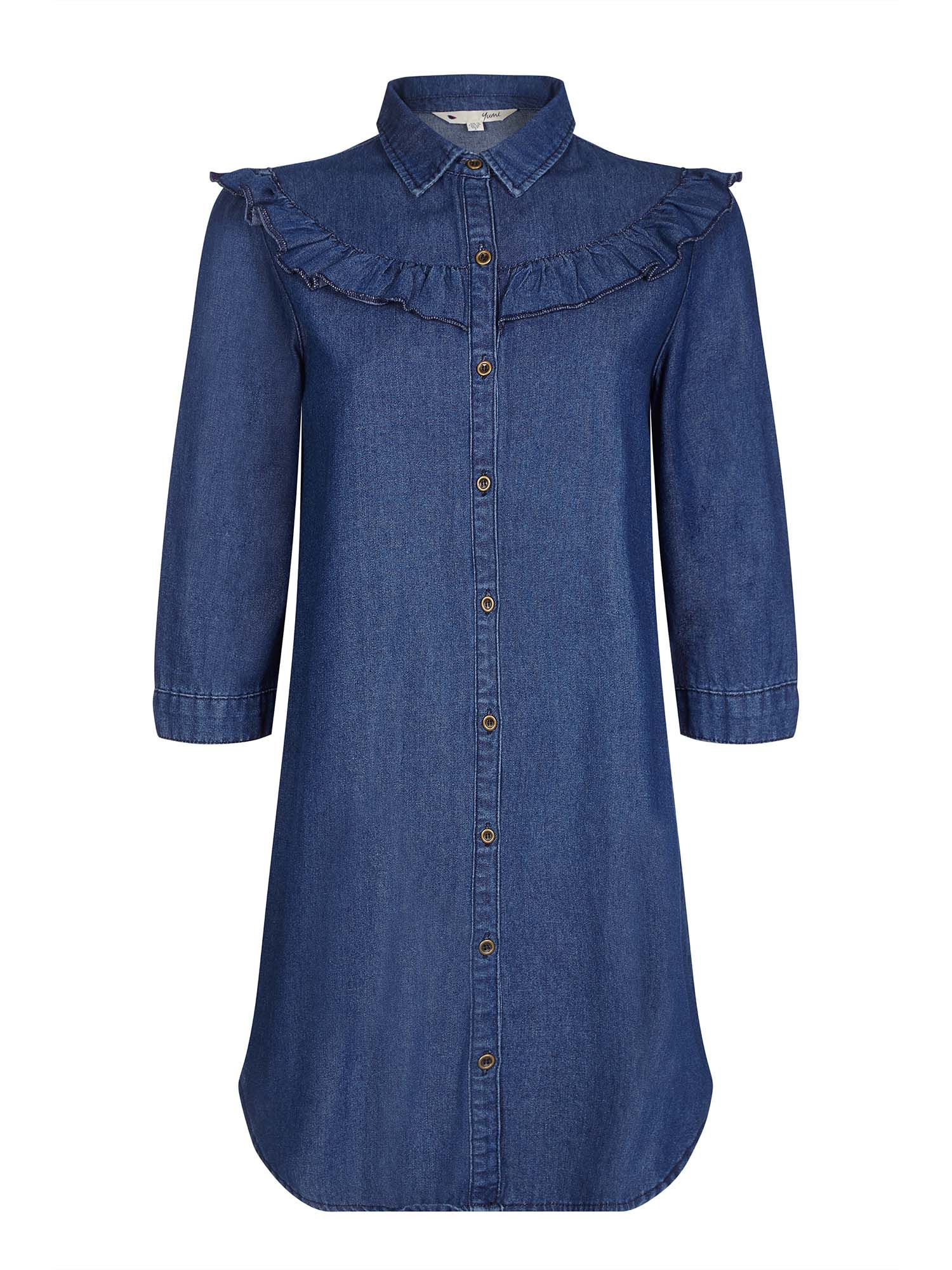 Yumi Ruffle Denim Dress, Blue