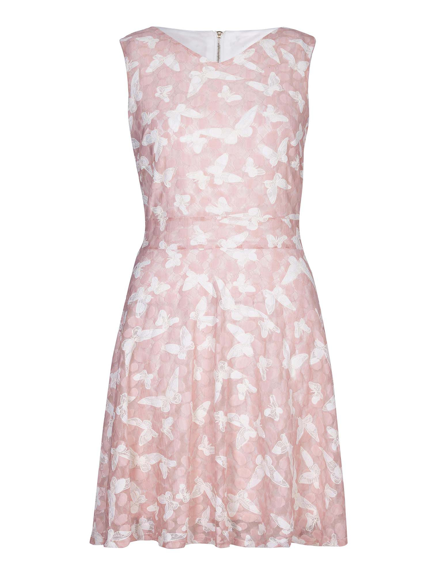 Yumi In Flight Butterfly Print Skater Dress, Pink