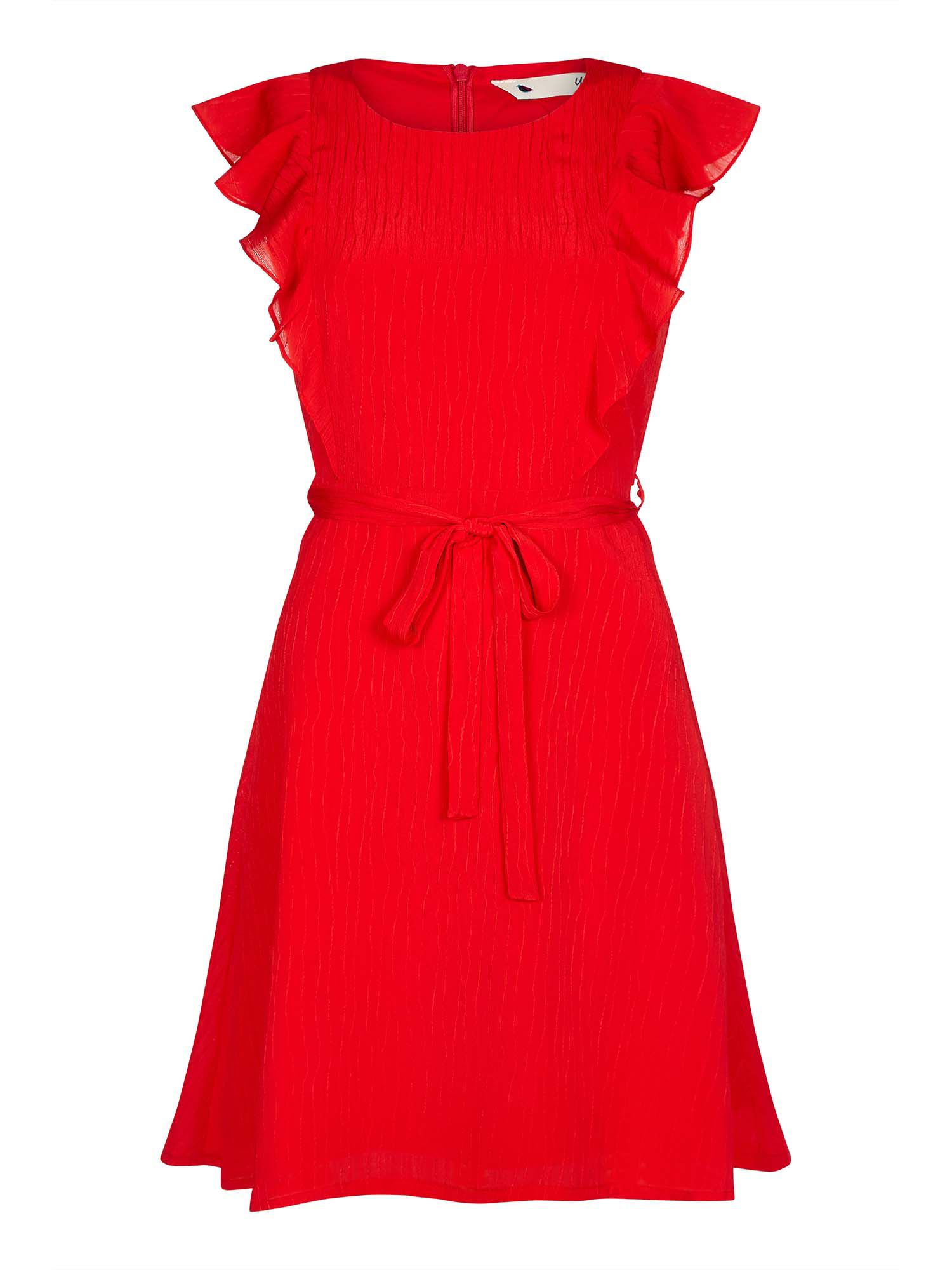 Yumi Ruffled Panel Dress, Red