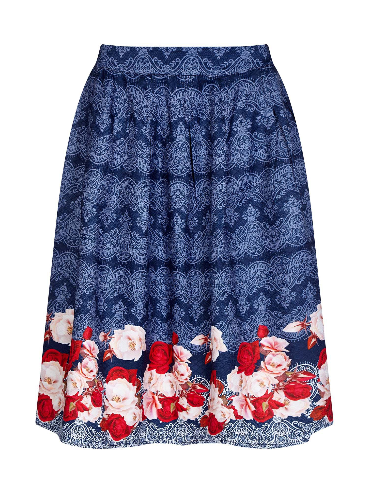 Yumi Digital Rose Printed Skirt, Blue