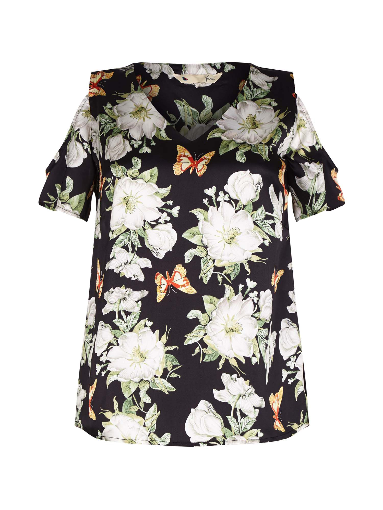 Yumi Butterfly and Flower Pattern Top, Black