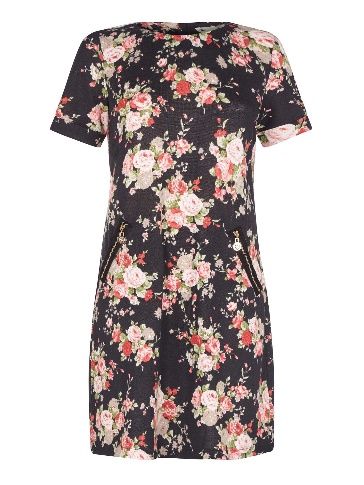 Yumi Floral Print Tunic Dress with Zipped Pockets, Black
