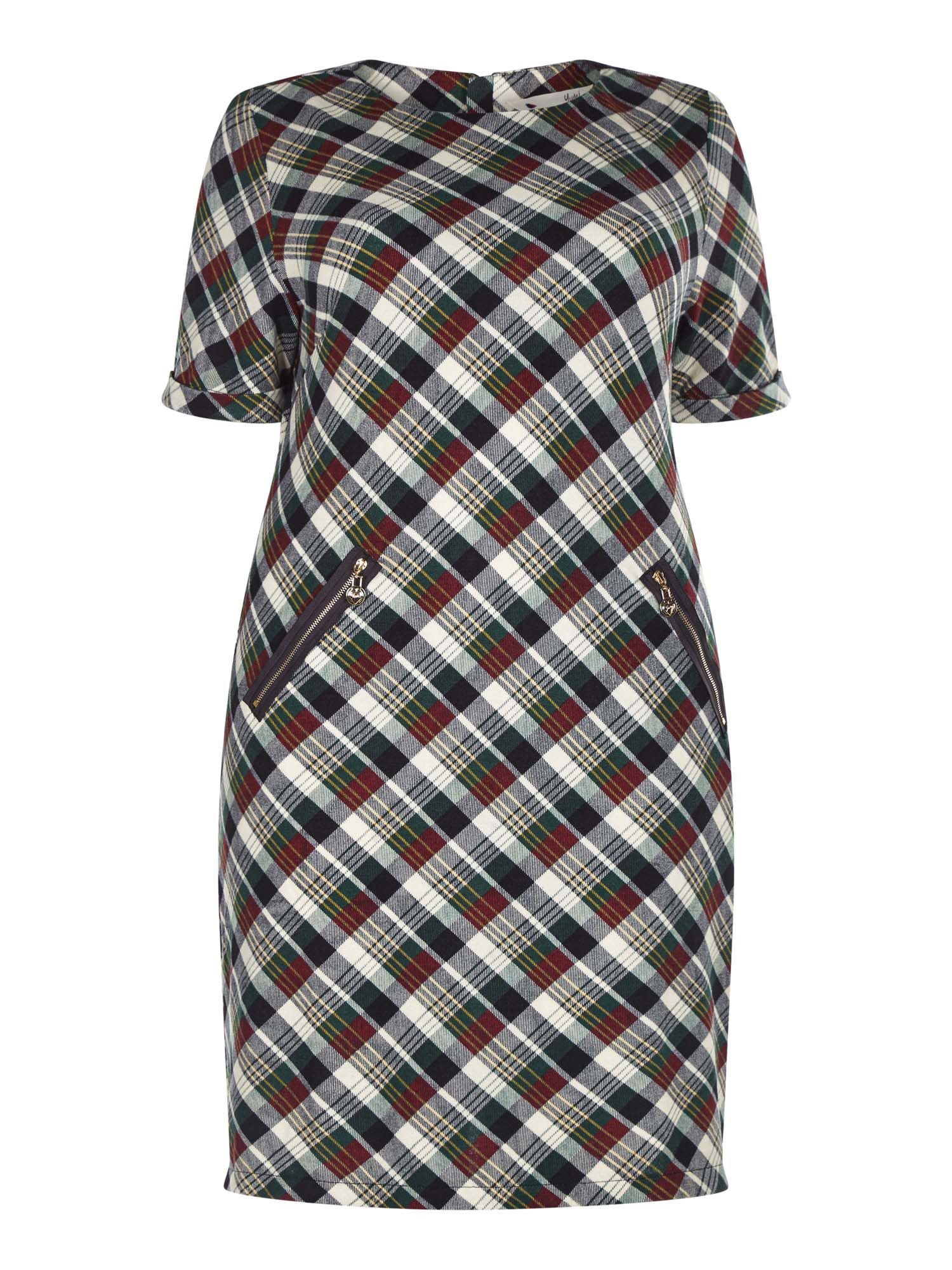 Yumi Curves Checked Tunic Dress With Zipped Pockets, Black
