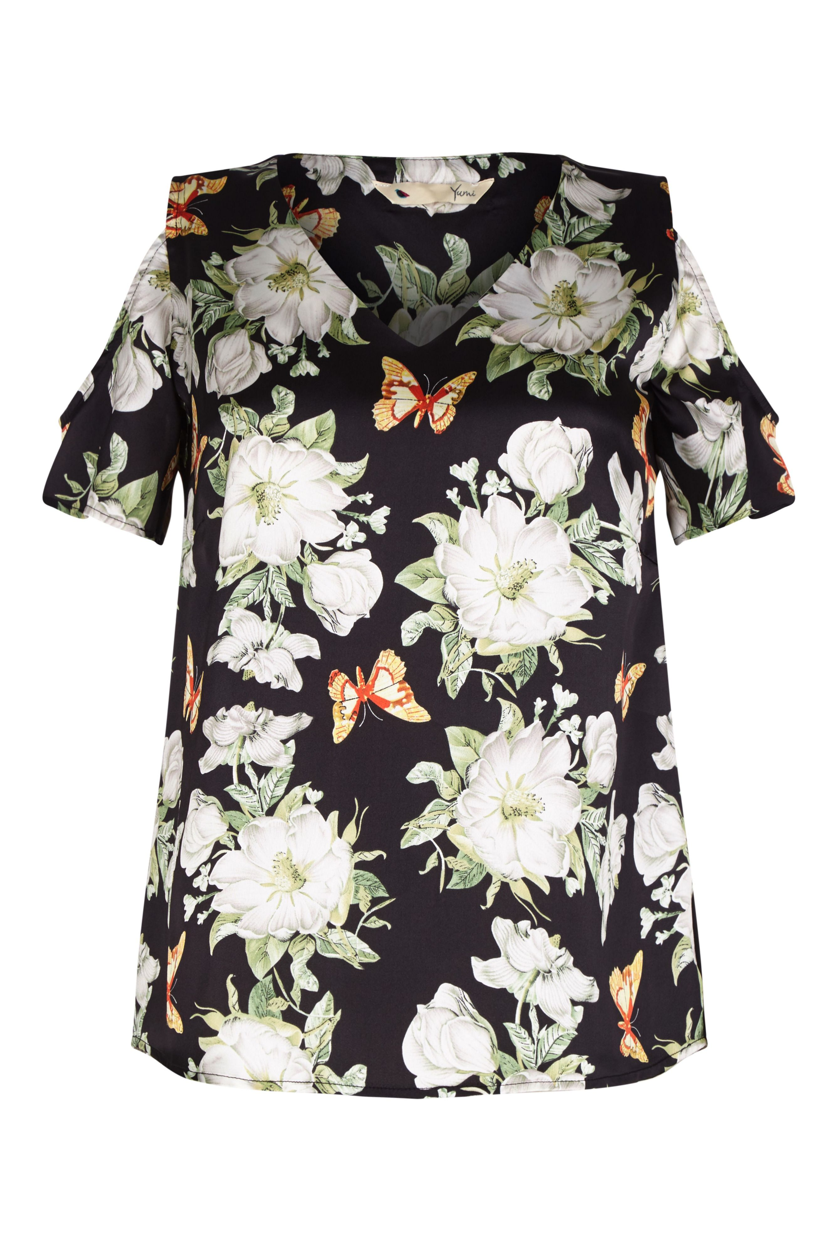 Yumi Curves Butterfly and Flower Print Top, Black