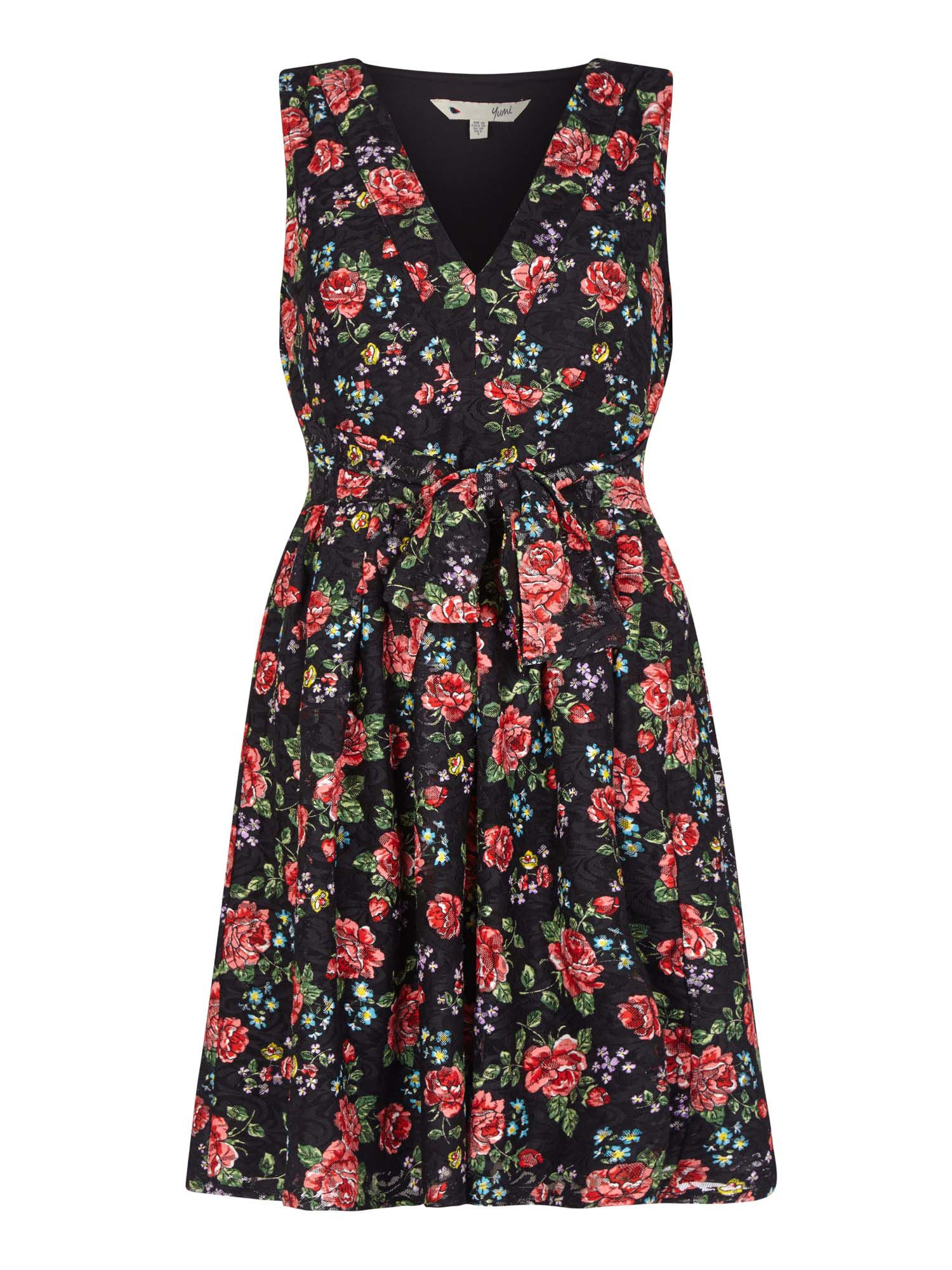 Yumi Curves Ditsy Flower Lace Skater Dress, Black