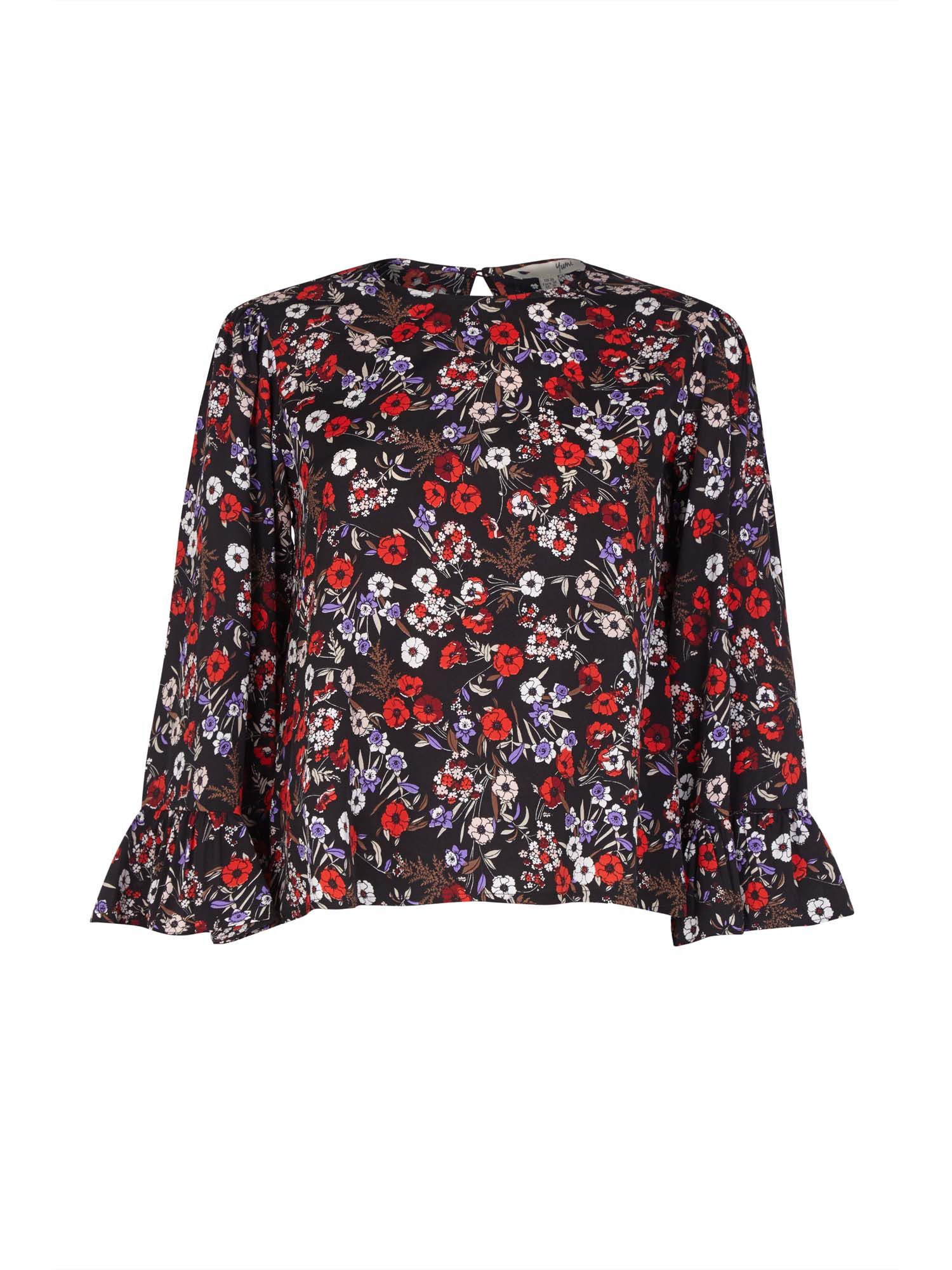 Yumi Curves Ditsy Poppy Fluted Sleeve Top, Black