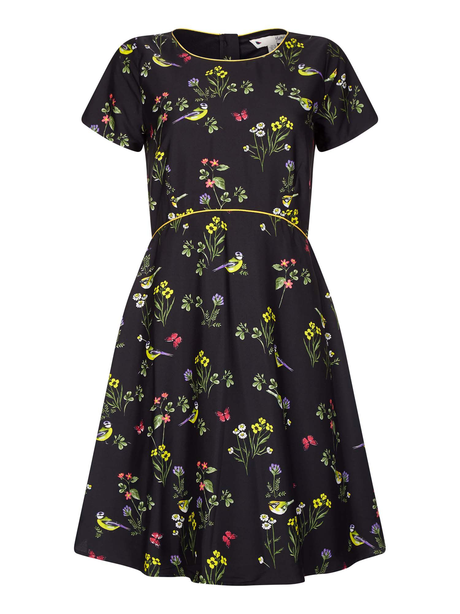 Photo of Yumi garden bird patterned tea dress- black