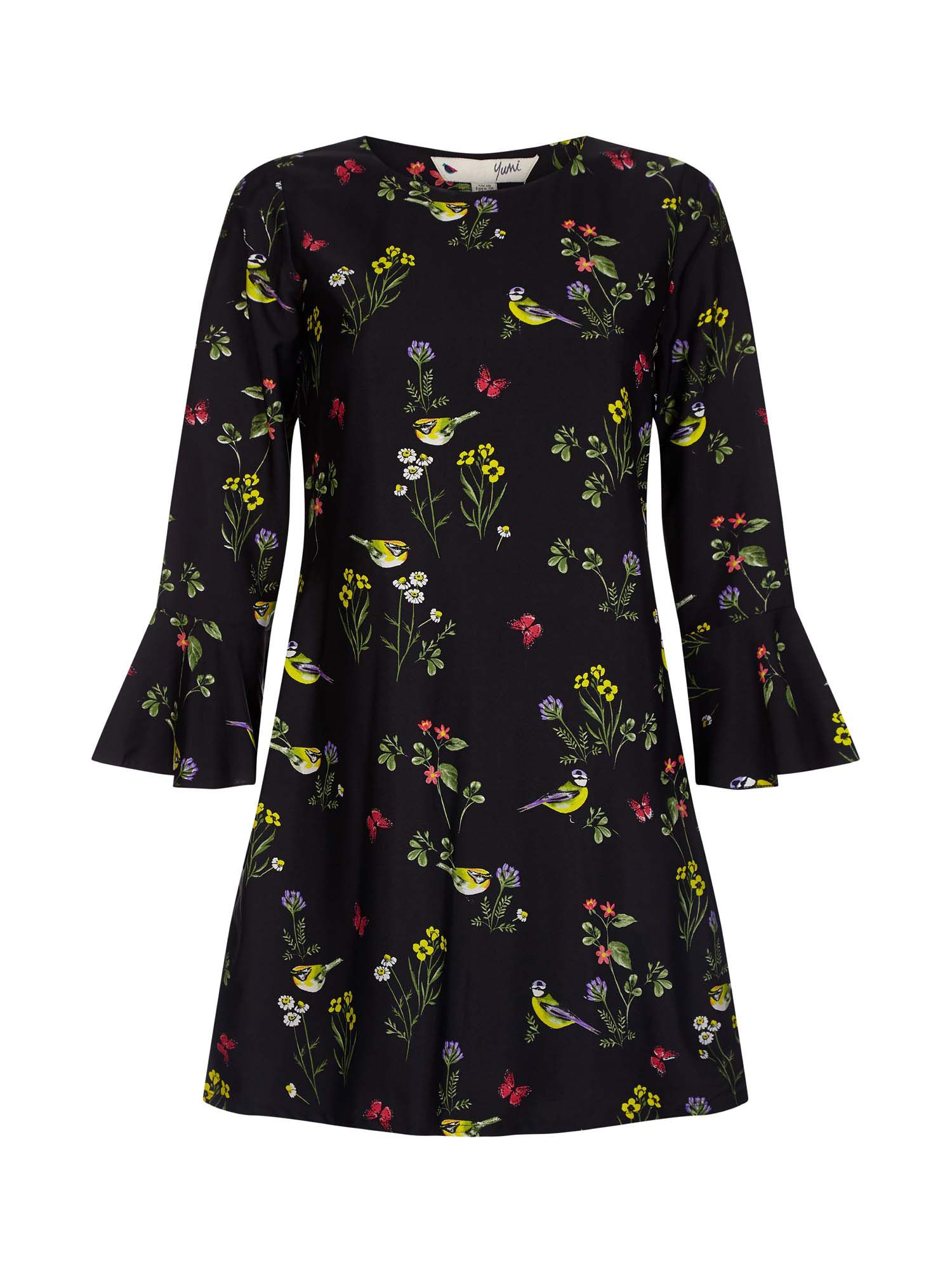 Photo of Yumi garden bird patterned shift dress- black