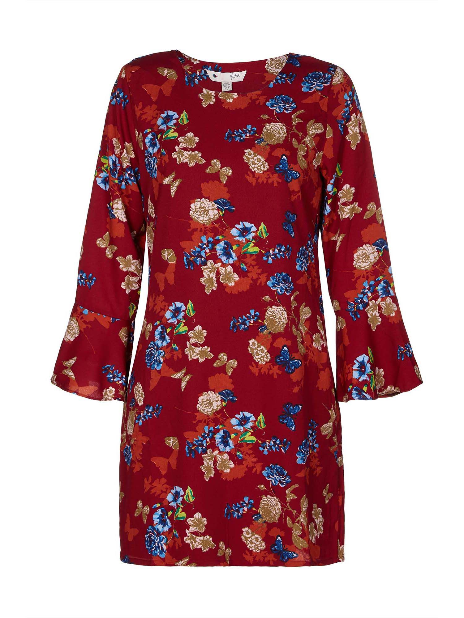 Yumi Curves Butterfly And Flower Print Tunic Dress, Orange