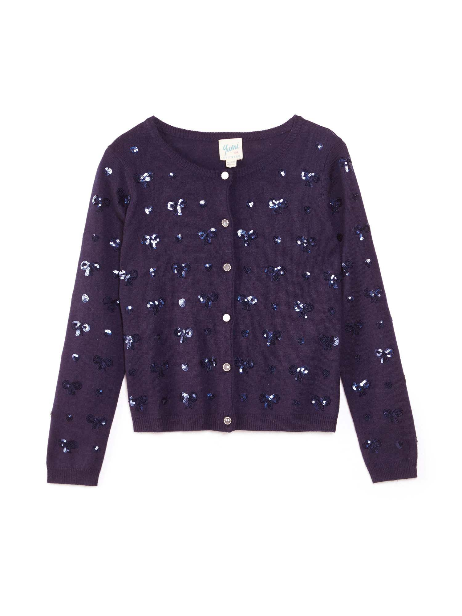 Click to view product details and reviews for Yumi Girls Embellished Sequin Bow Cardigan Blue.