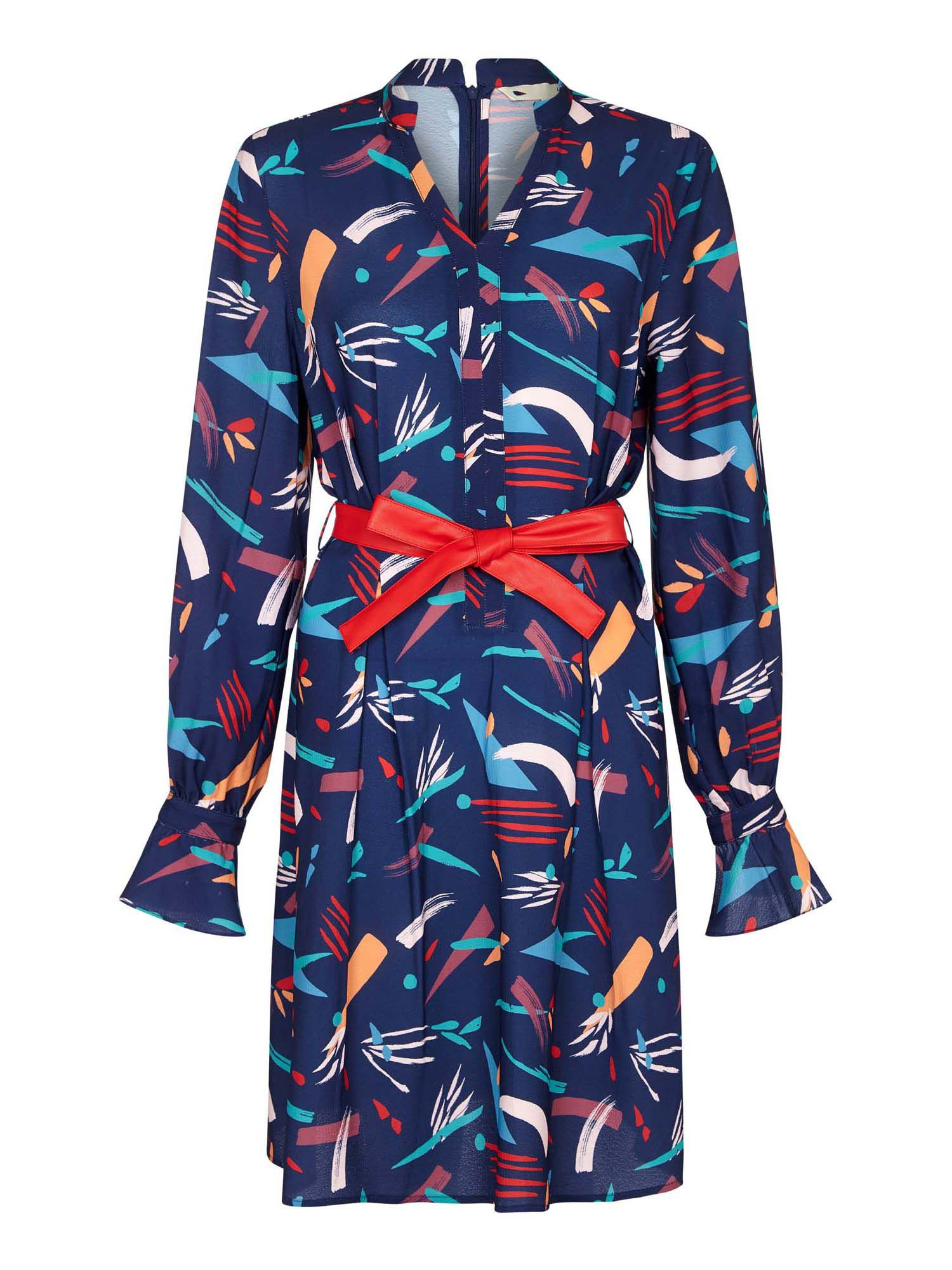 Yumi Abstract Stroke Print With A Faux Leather Belt, Dark Blue