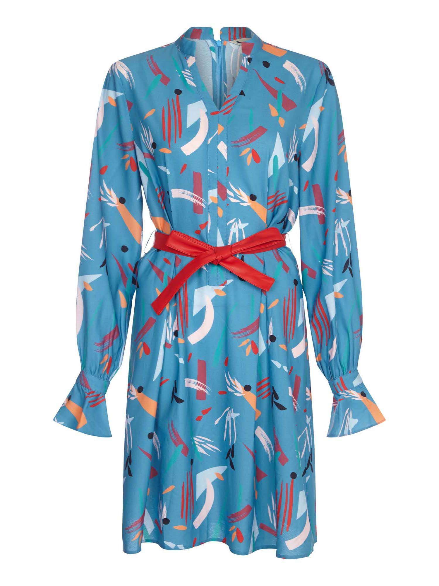 Yumi Abstract Stroke Print With A Faux Leather Belt, Light Blue