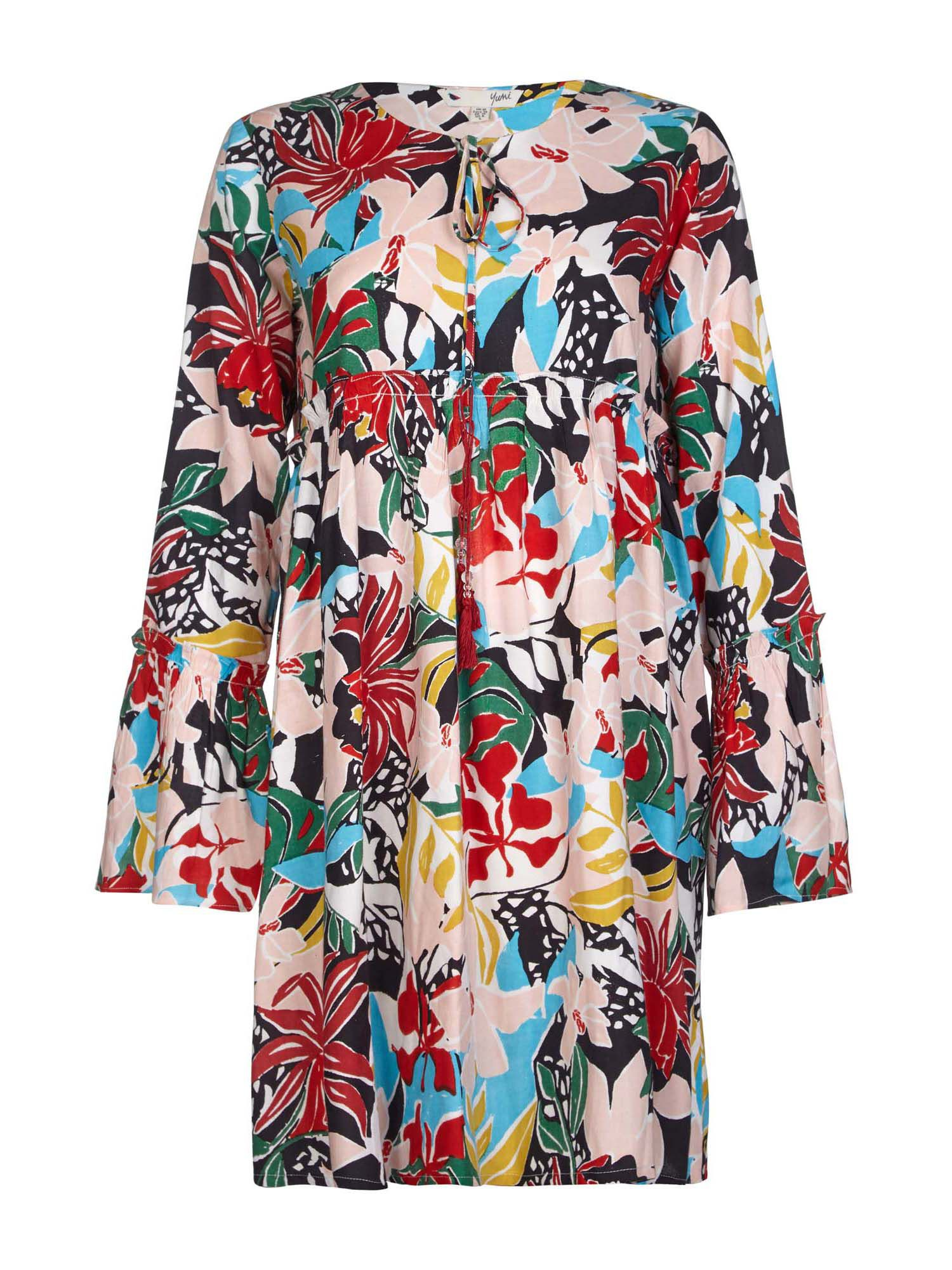 Yumi Beaded Floral Print Tunic Dress, Multi-Coloured