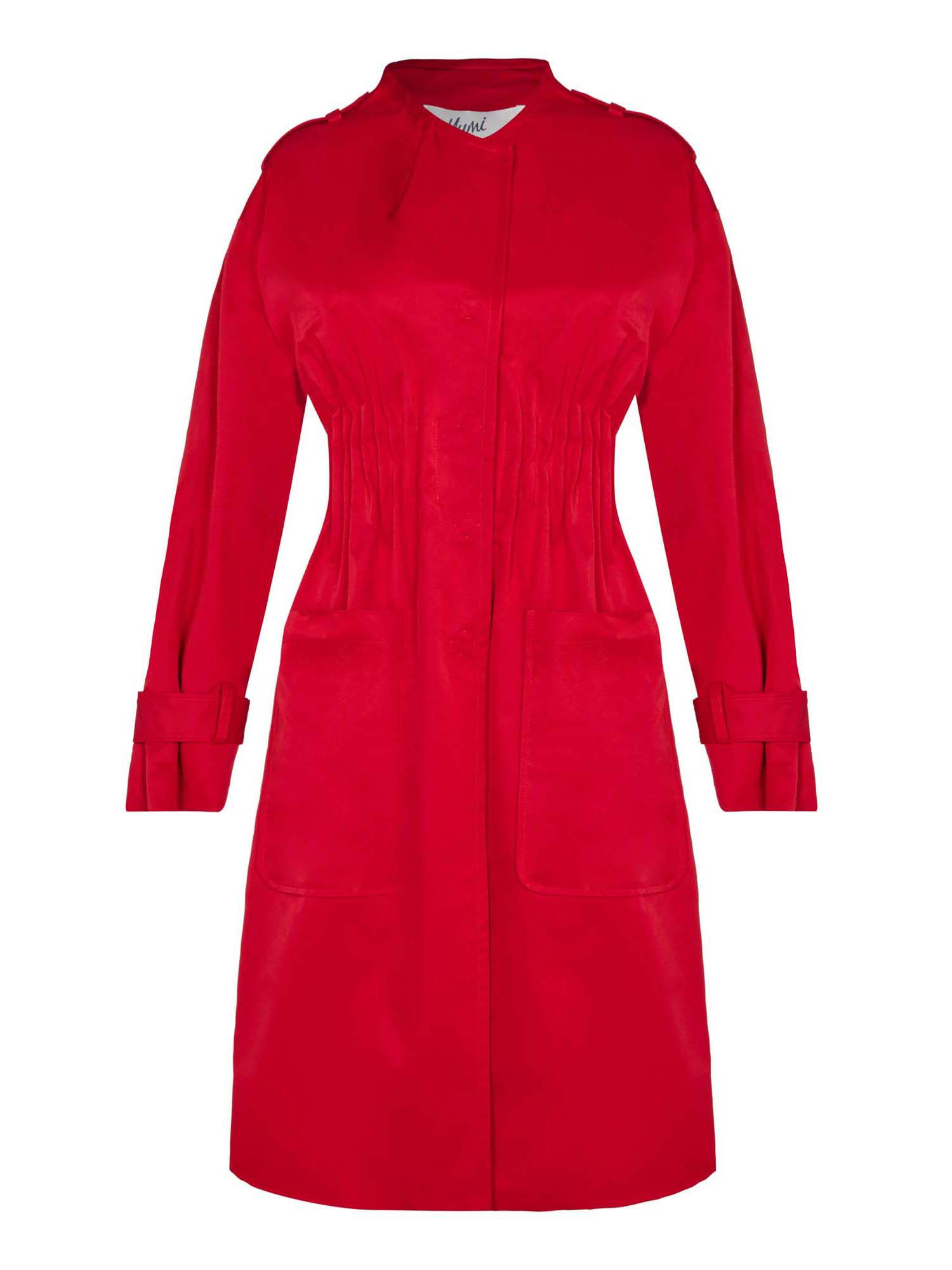 Yumi Ruched Trench Coat, Red